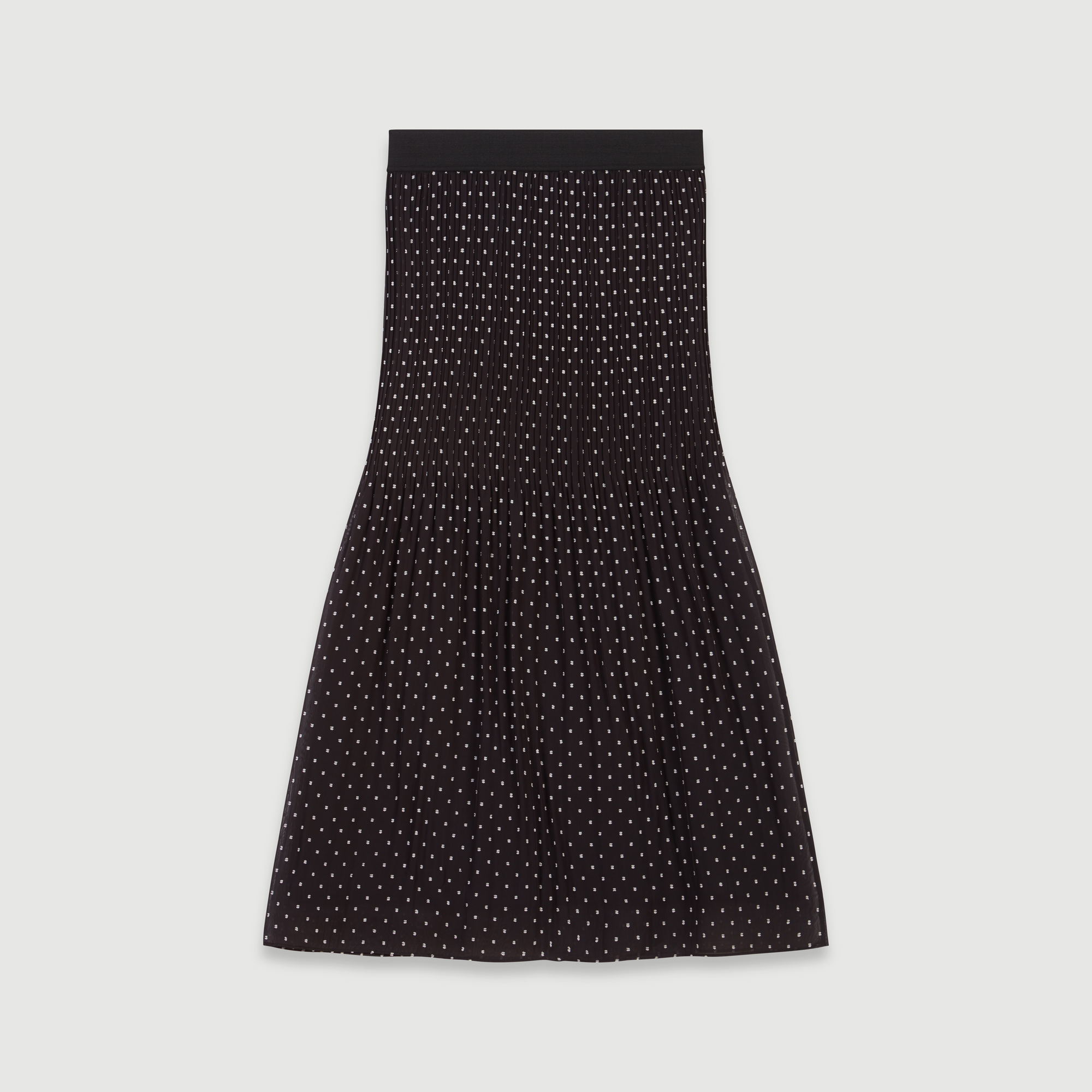 Pleated embroidered calf length skirt - Black