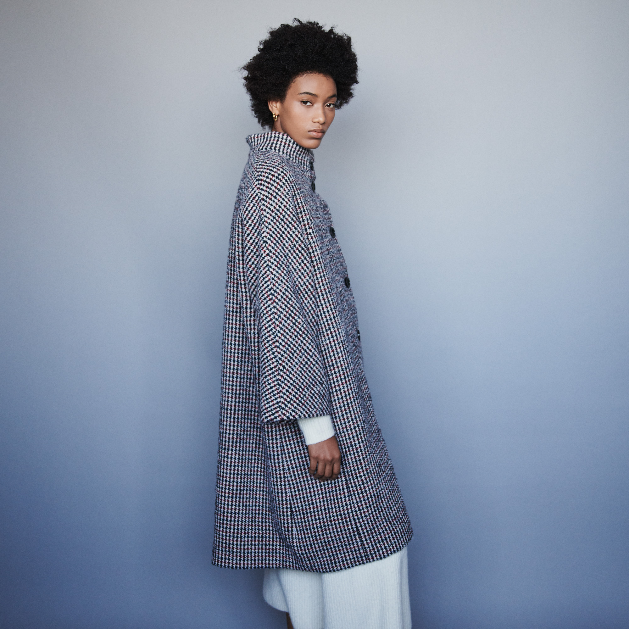 Long Wool Houndstooth Coat - Multiclr