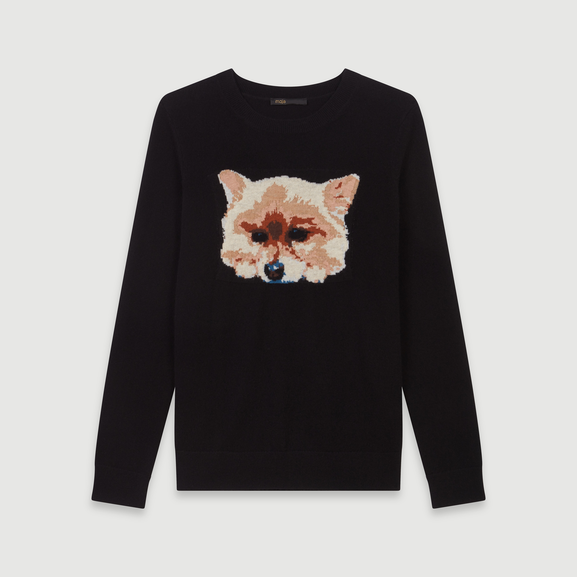 Cashmere sweater with dog head jacquard - Black