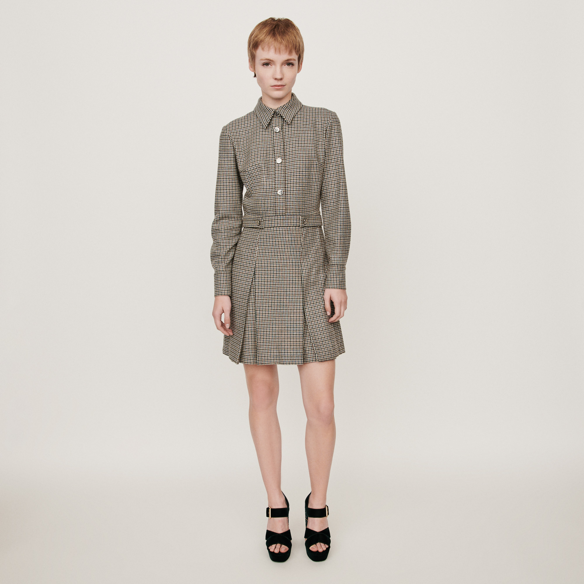 Prince of Wales printed wool shirt dress - Grey