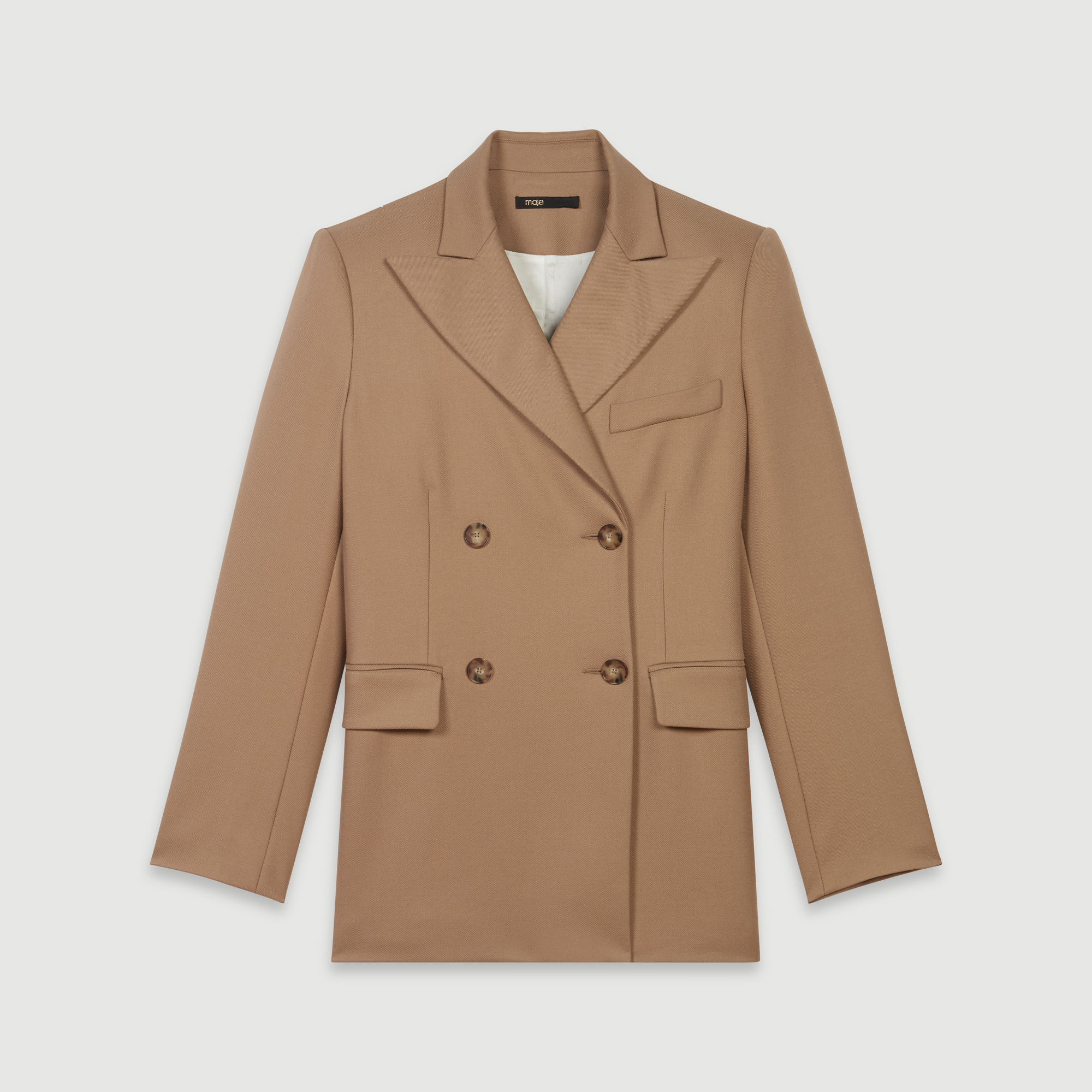 Straight cut double breasted jacket - Camel