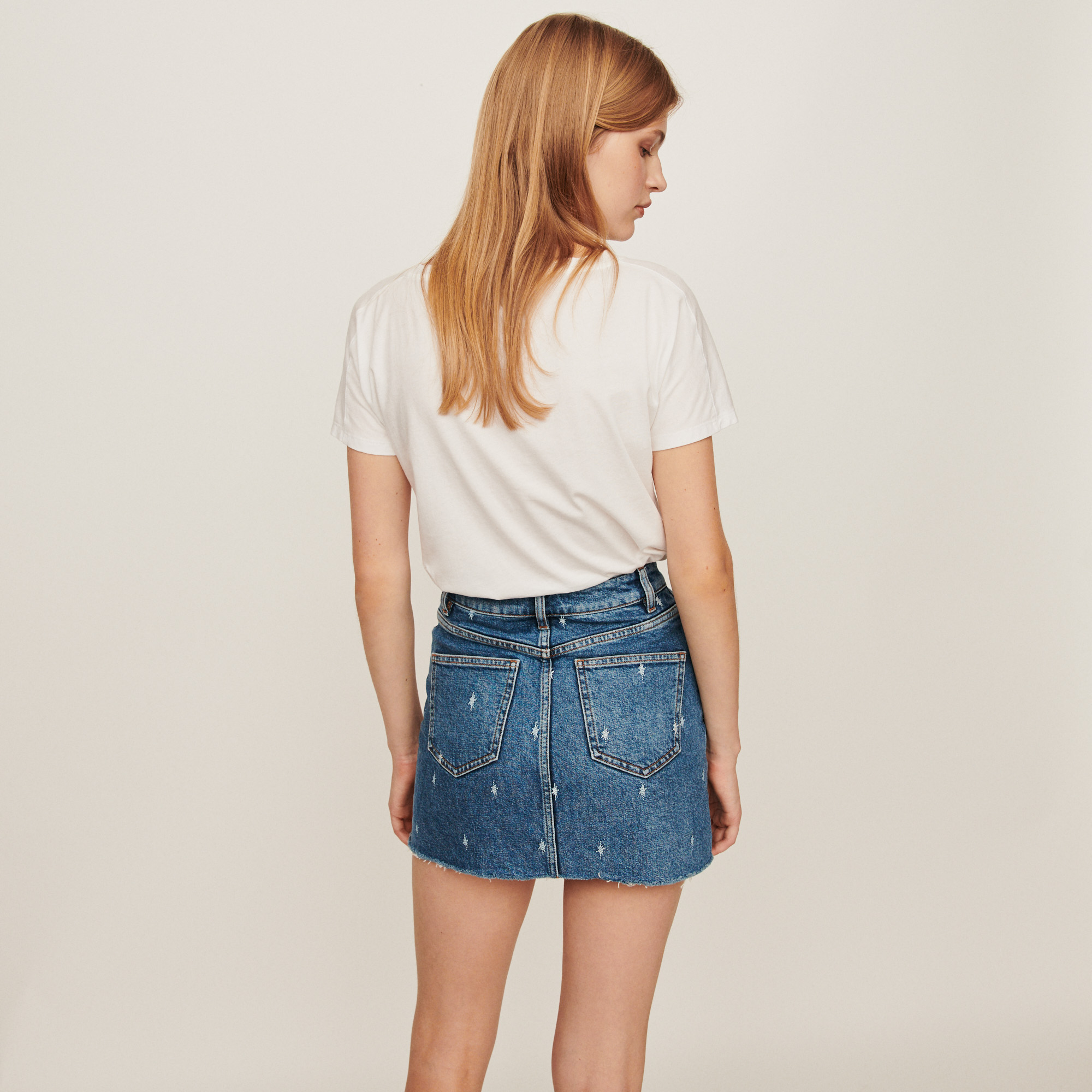 Faded straight cut jean skirt - Blue
