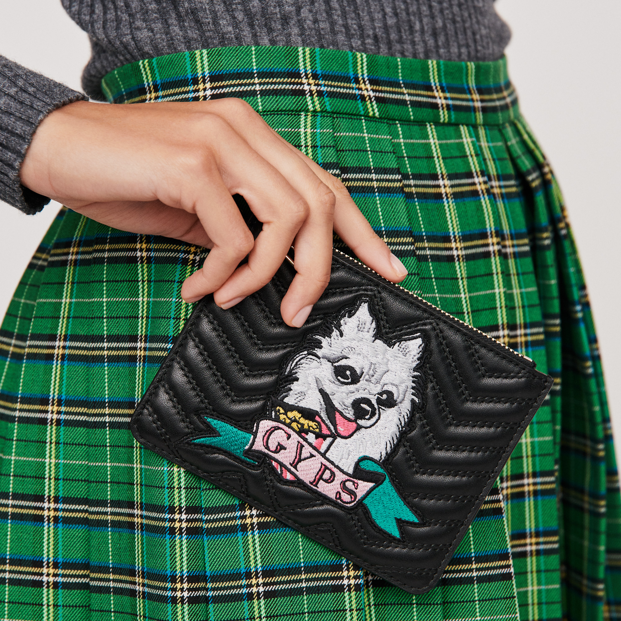 Gyps zipped quilted leather clutch - Black