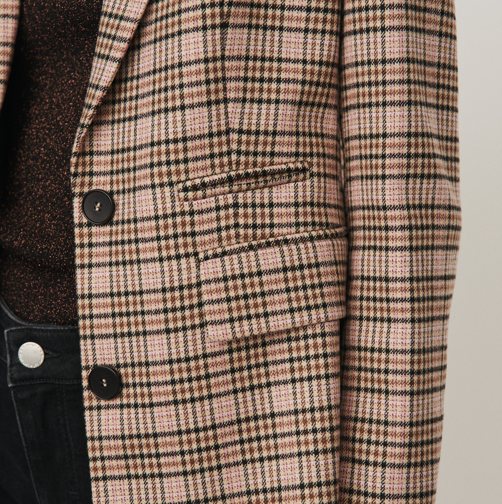 Fitted plaid jacket - Beige