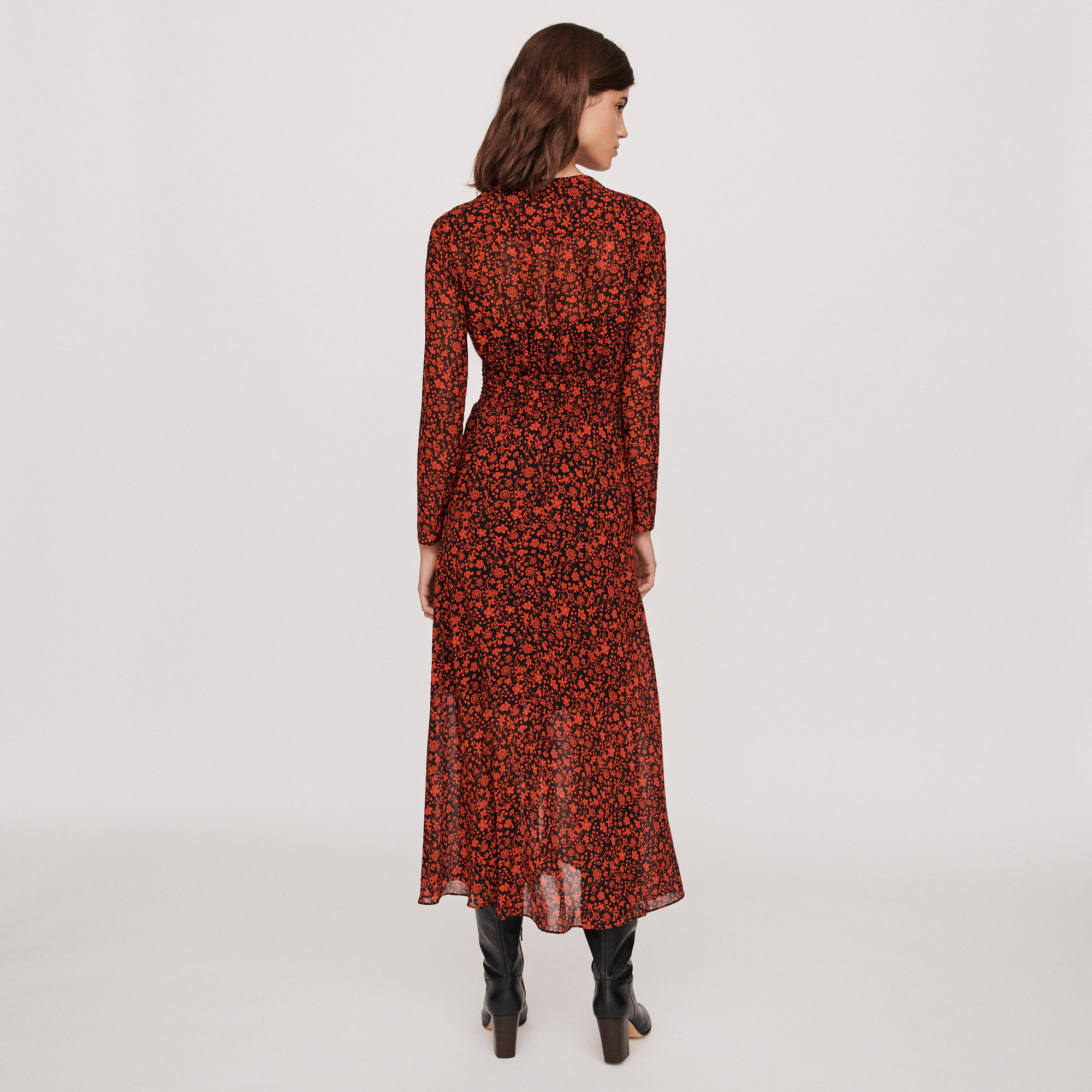 Printed muslin scarf dress - Red