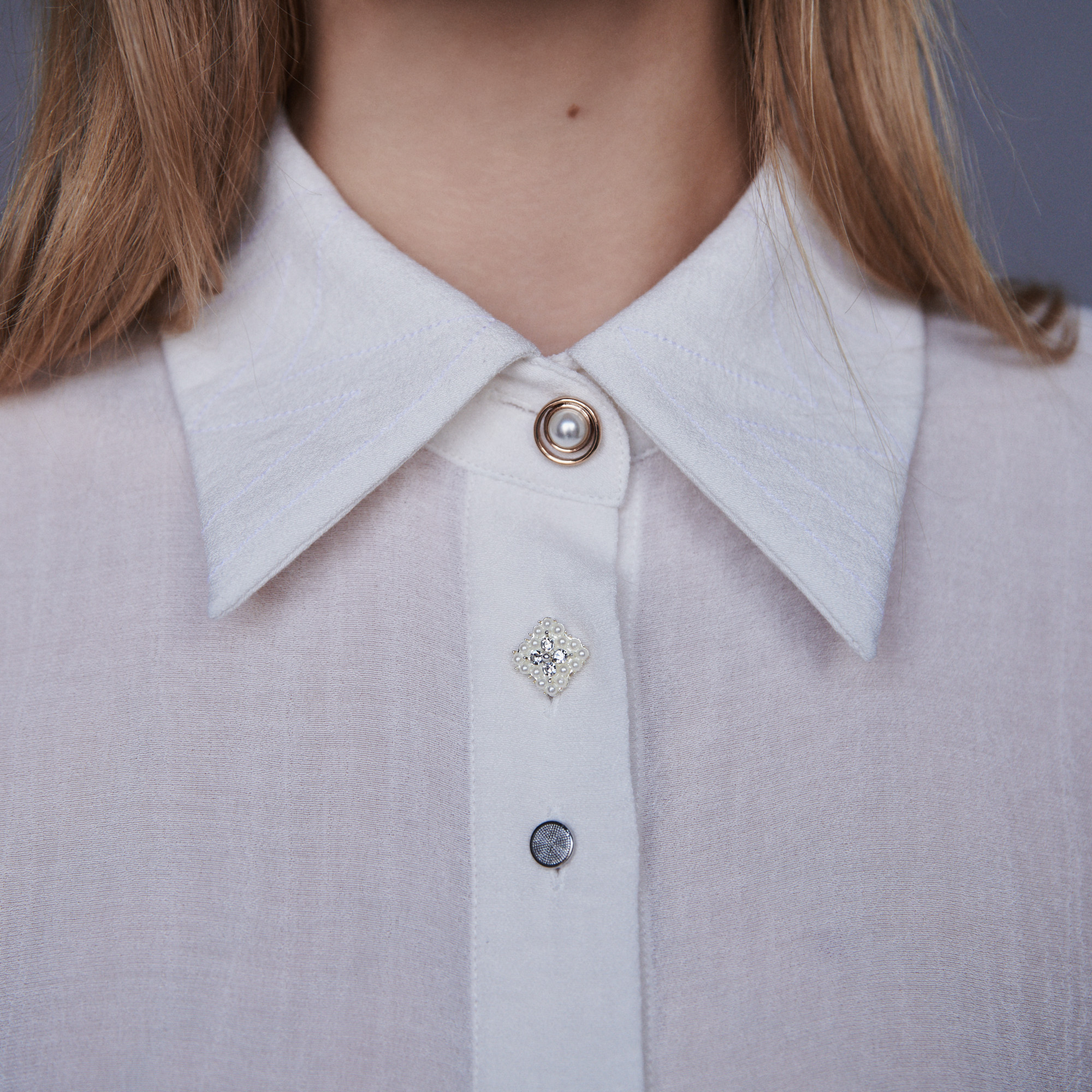 Pussy bow shirt with jewelled buttons - Ecru