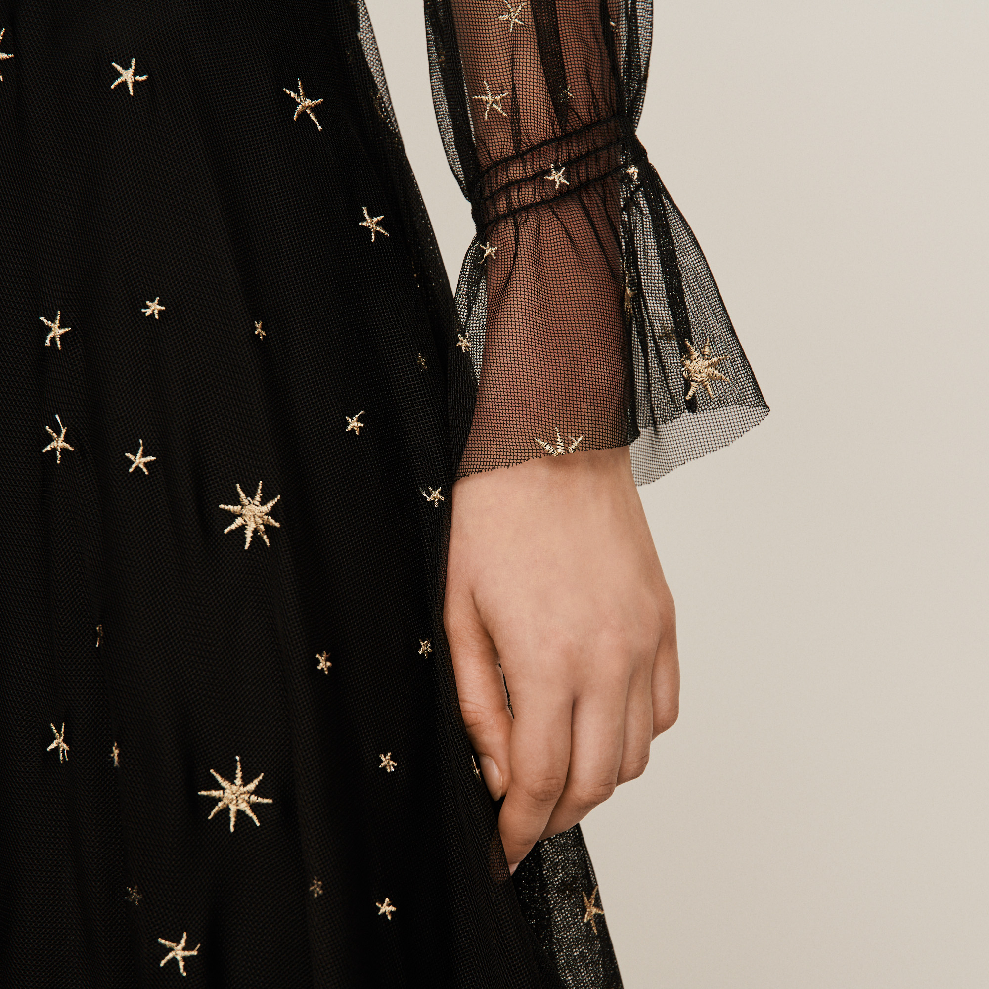 Star embroidered scarf dress - Multiclr