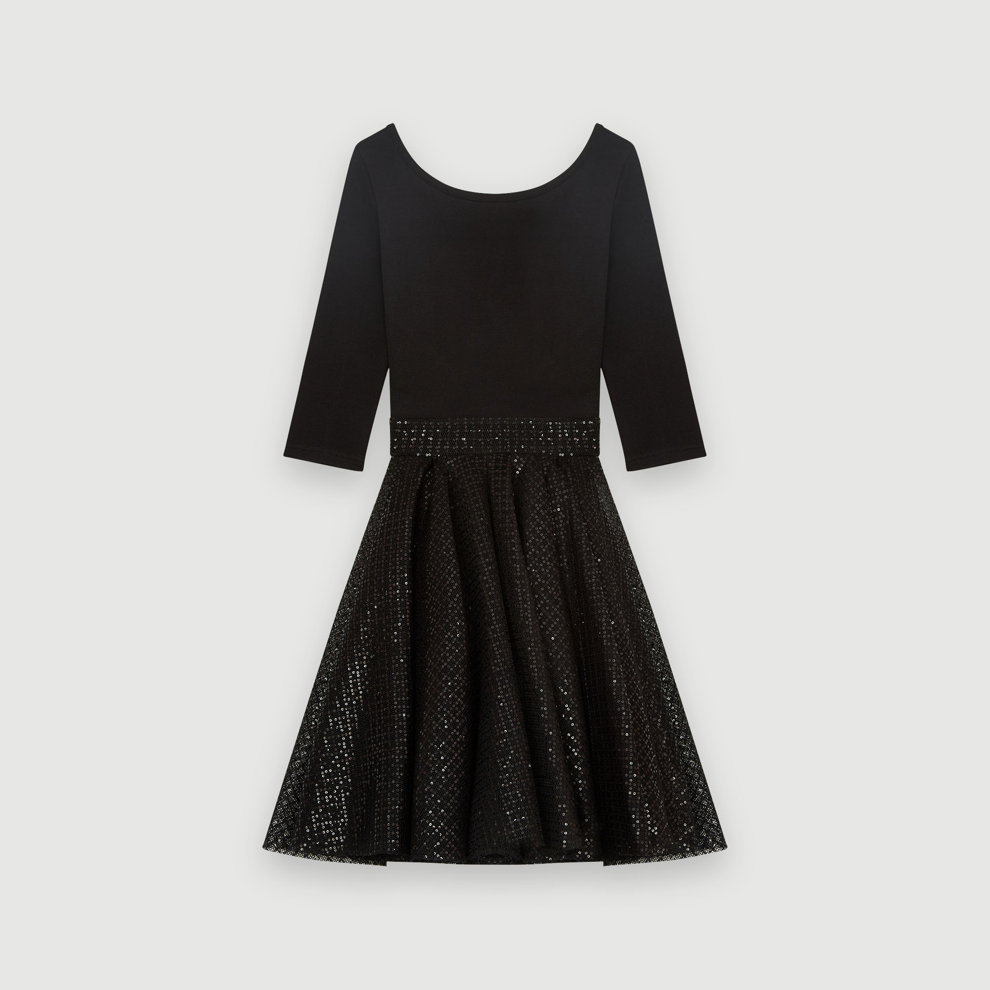Jersey and strass skater dress - Black