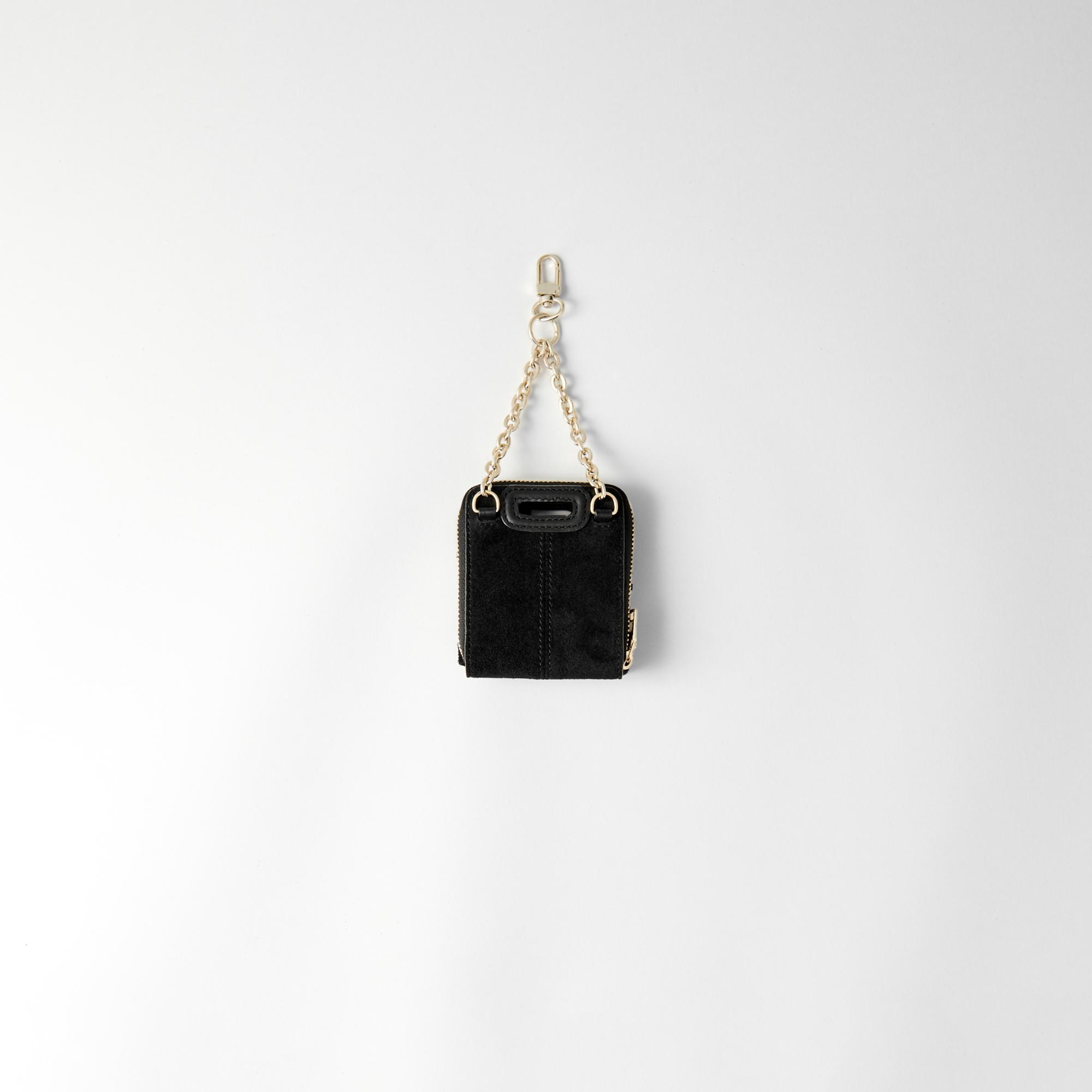 Zipped suede nano M cardholder - Black