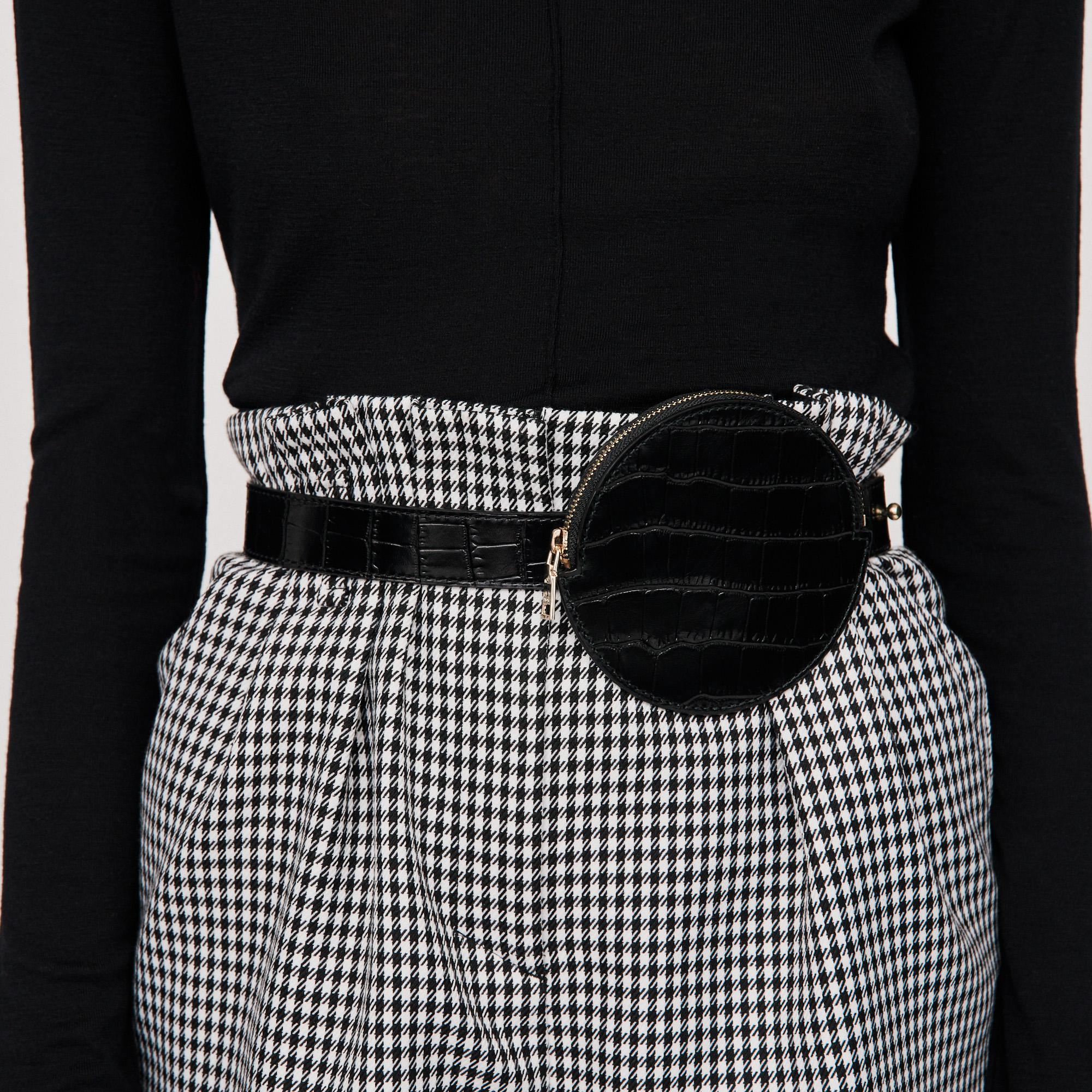 Embossed Leather Belt Bag - Black