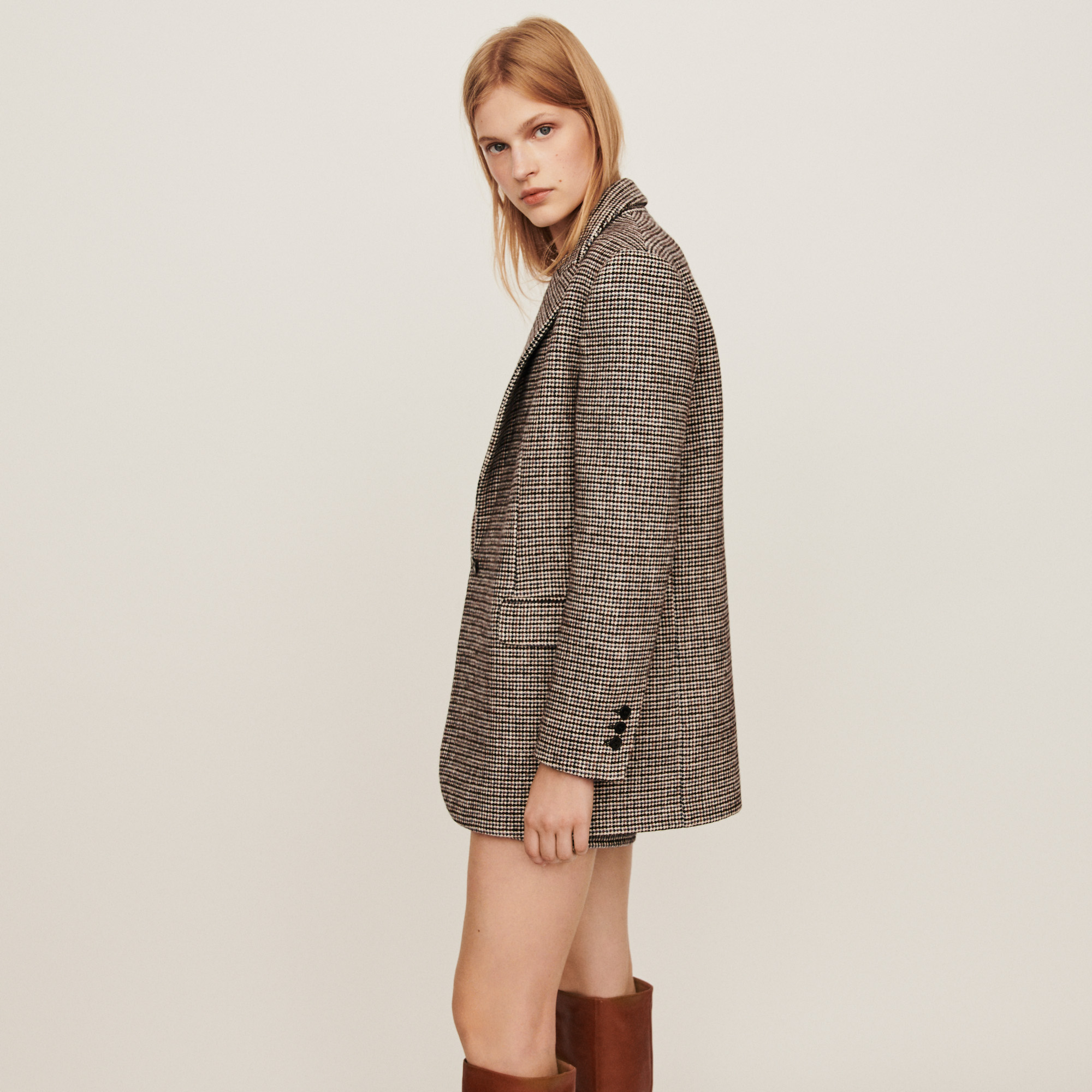 Grey plaid jacket style coat - Grey