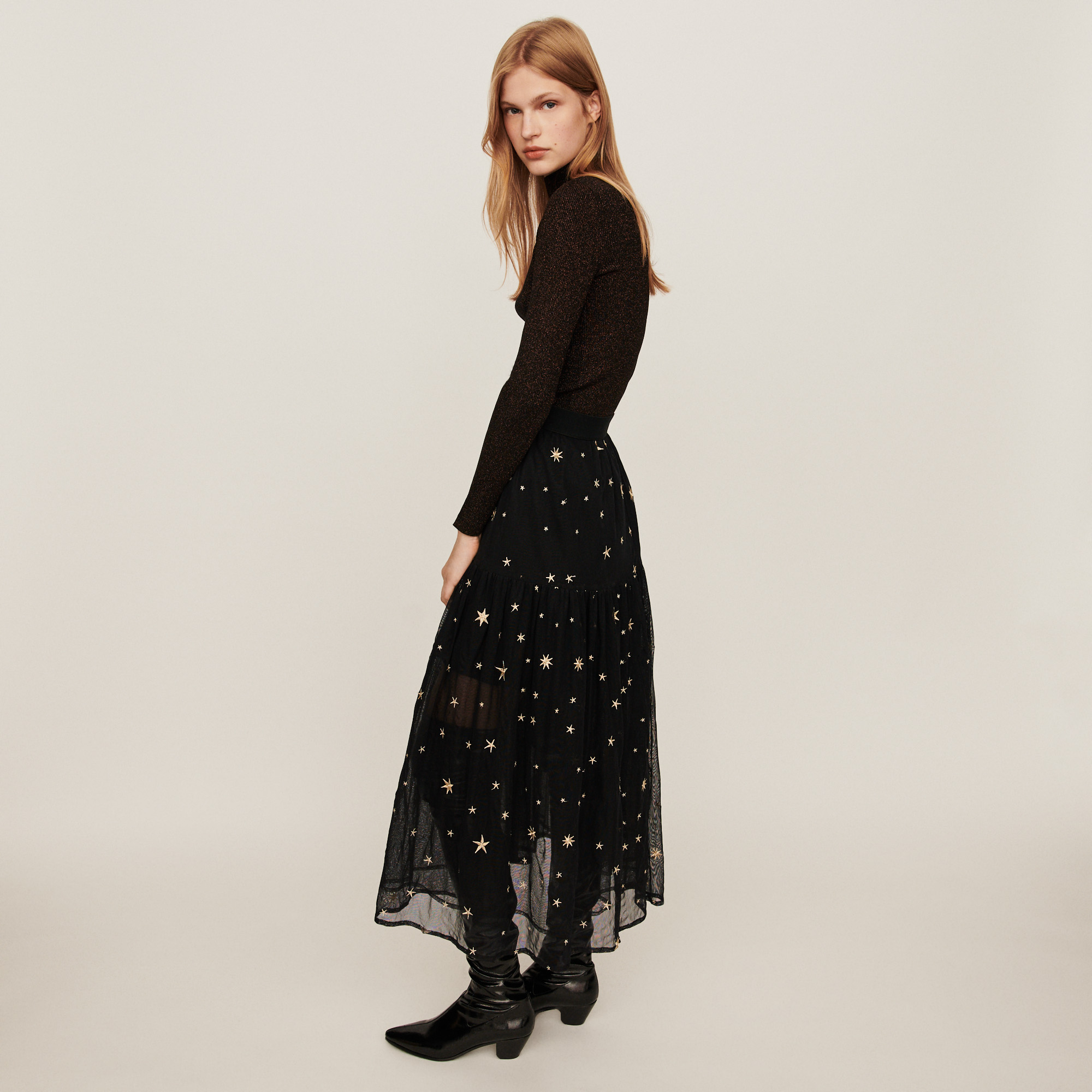 Star embroidered tulle skirt - Multiclr