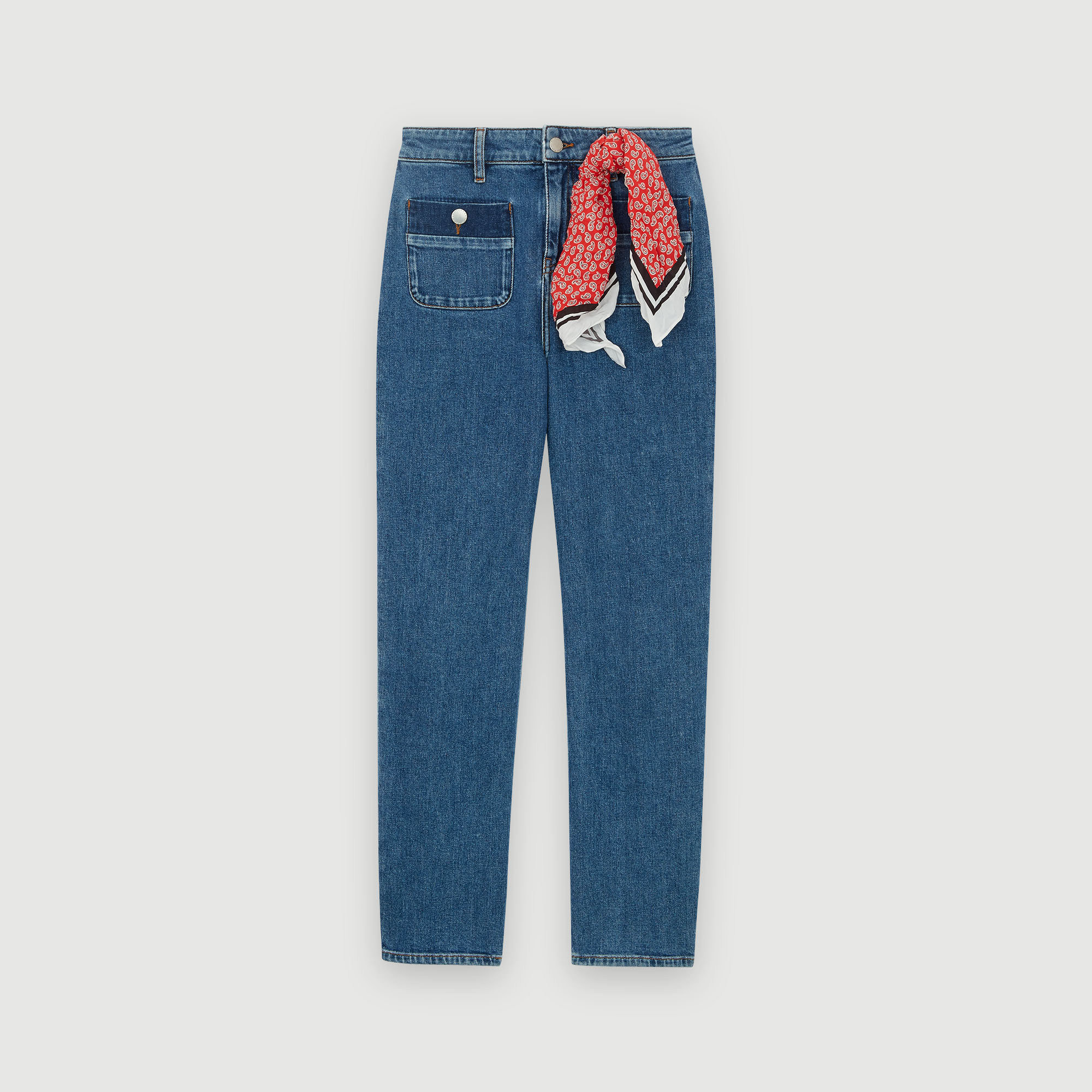 Cropped washed jeans - Blue
