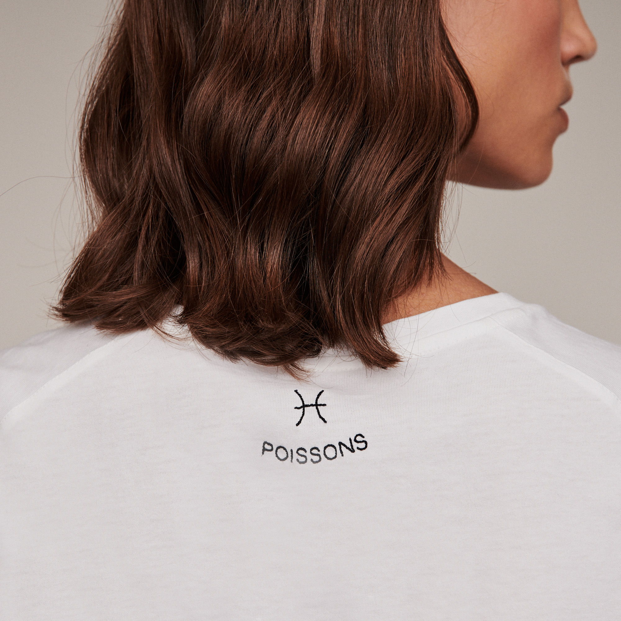 Pisces zodiac embroidery and strass cotton Tshirt - Ecru