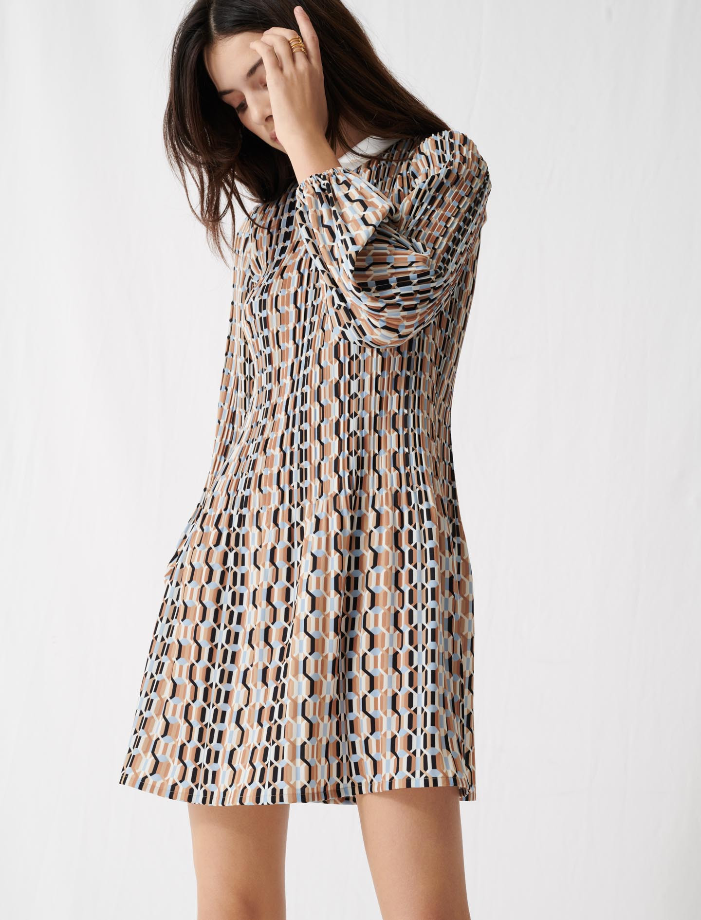 Printed Pleated Dress, Peter Pan Collar - Blue