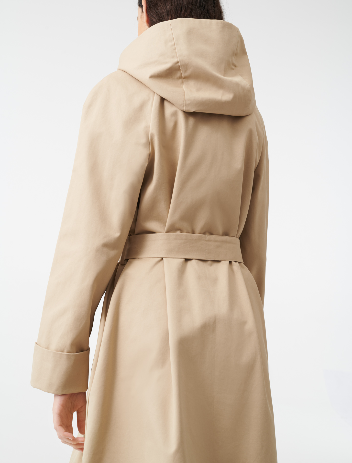 Hooded trench coat with belt - Brown