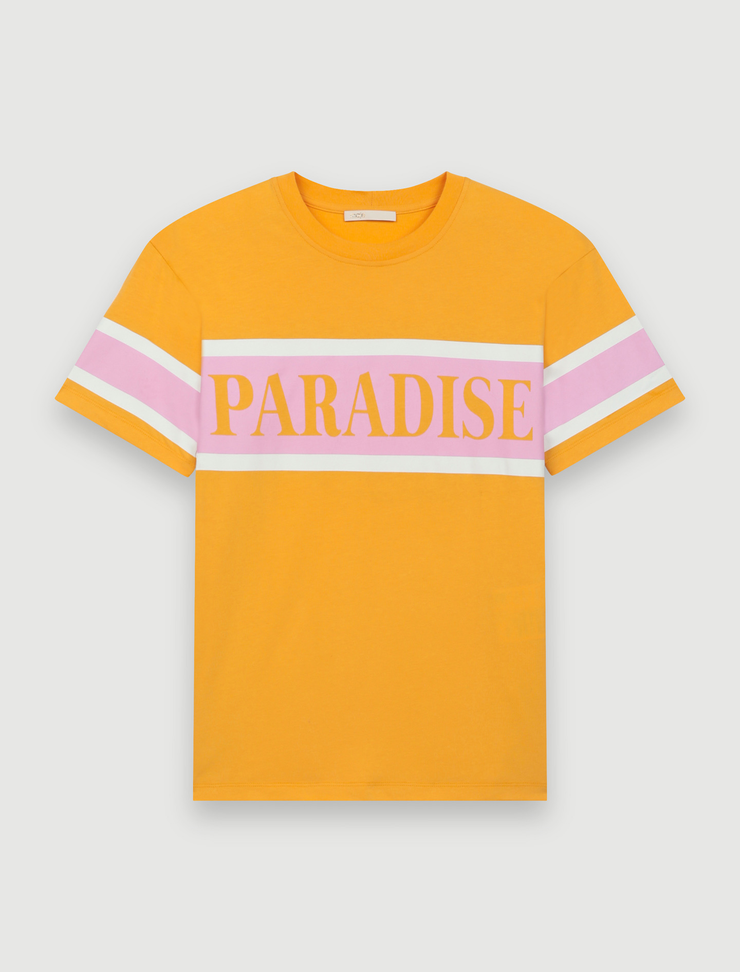"T-shirt with ""Paradise"" screen print - Yellow"