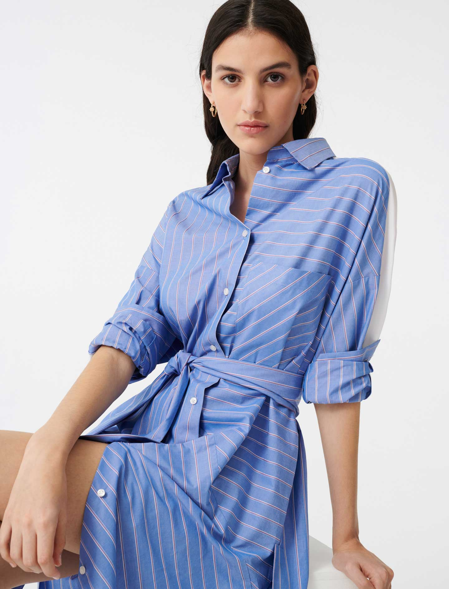 Shirt dress with printed stripes - Blue