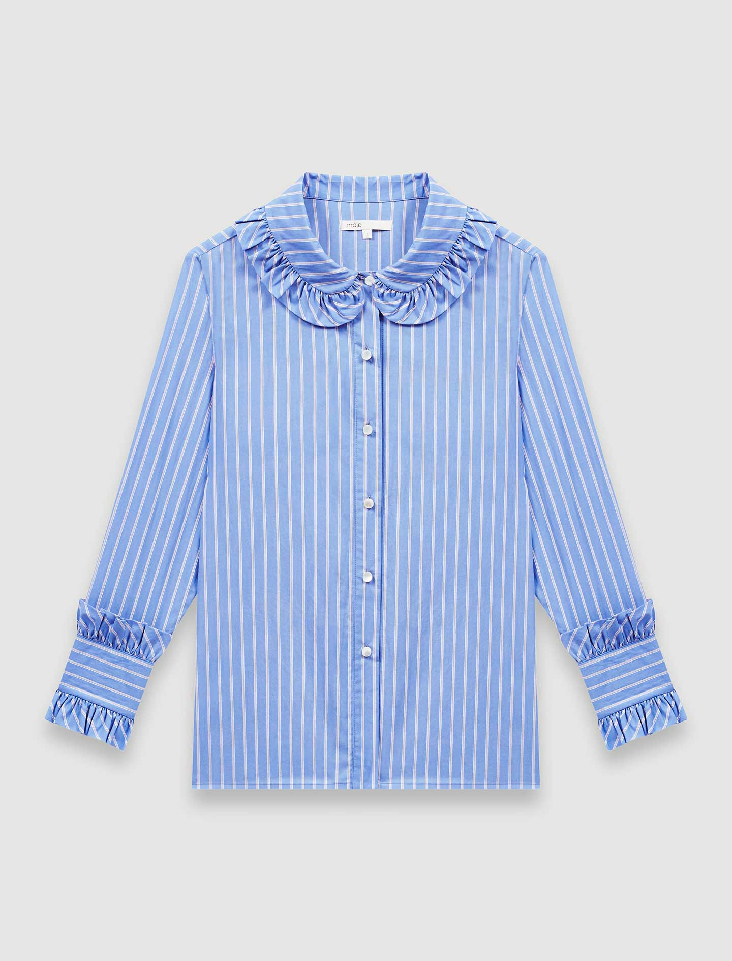 Striped shirt with a frilled collar - Blue