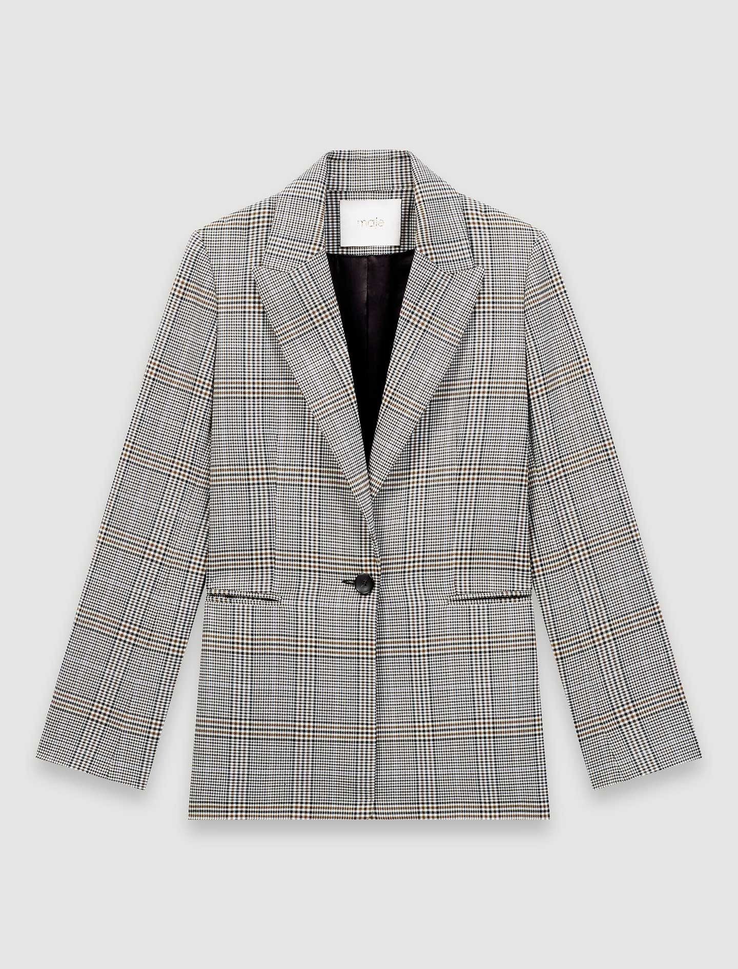 Single breasted checked jacket - Grey