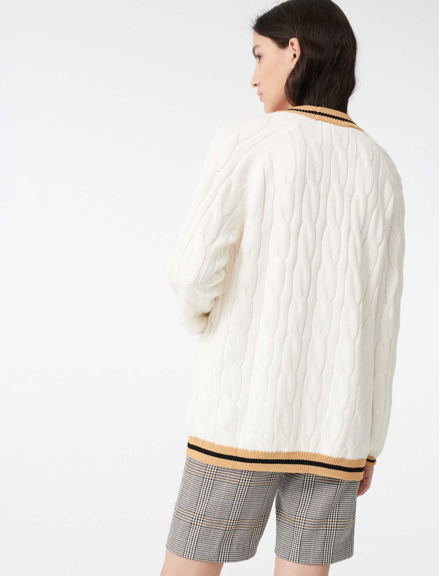 Cable cardigan with contrasting bands  - Ecru