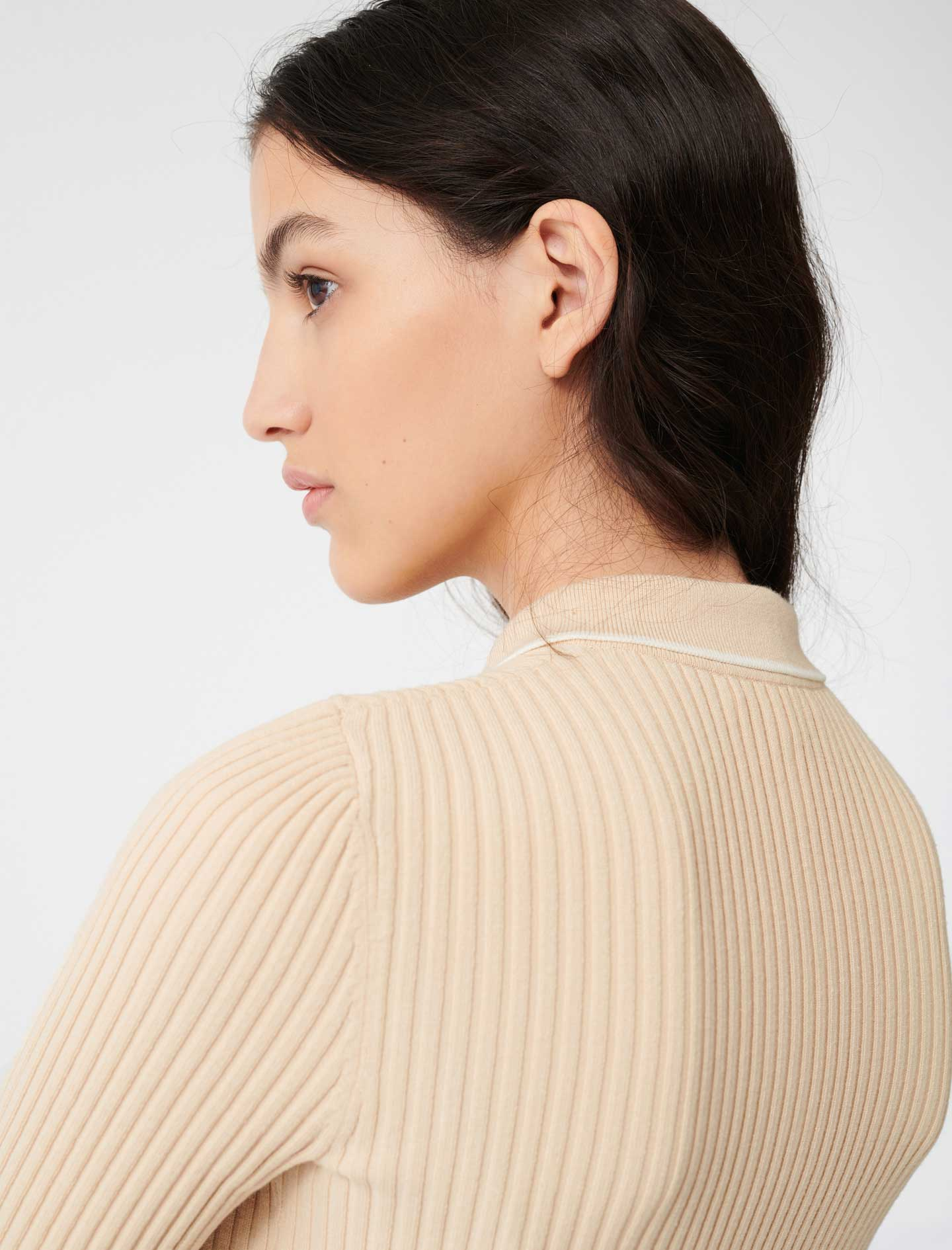 Ribbed polo sweater - Nude