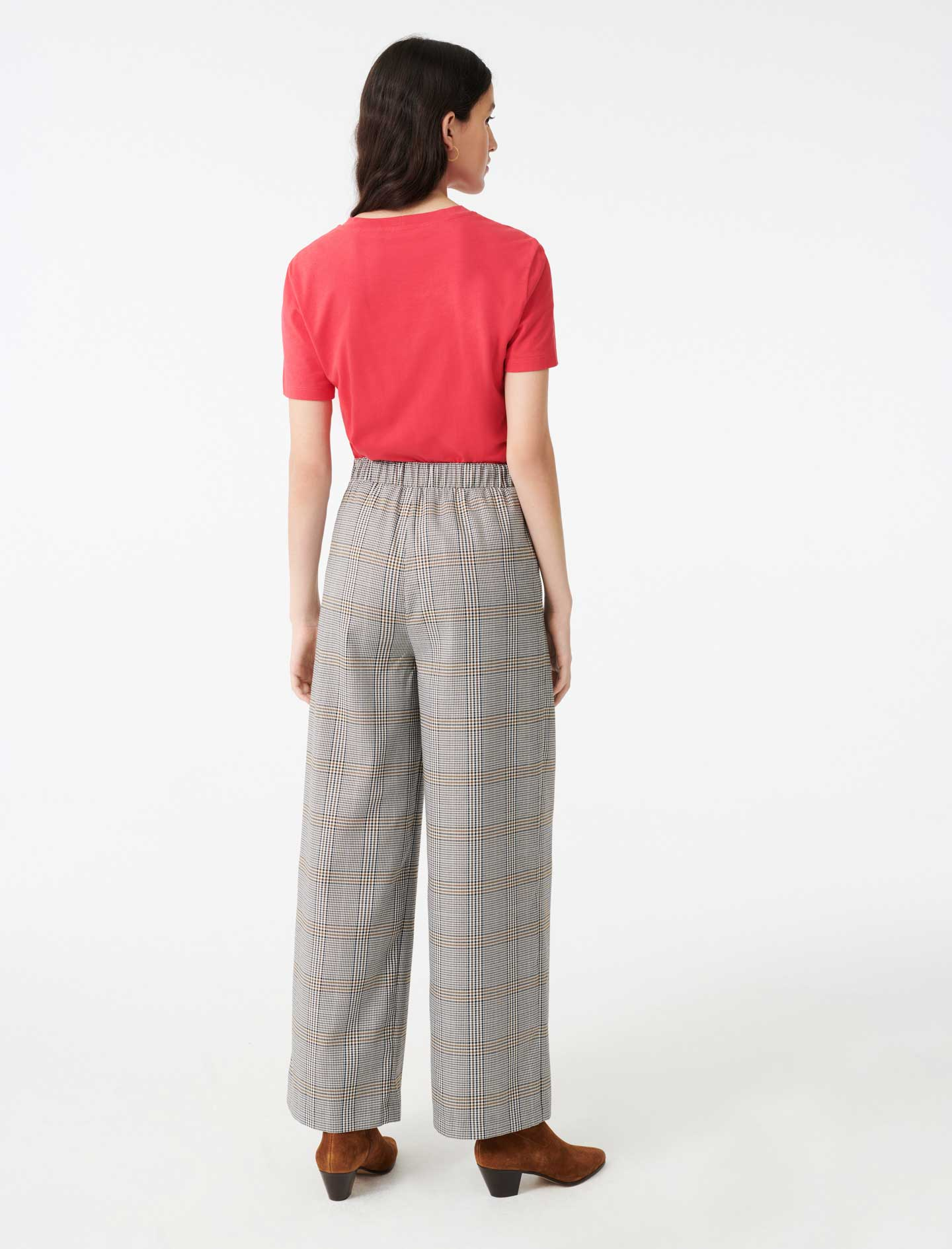 Checked elasticated trousers - Grey