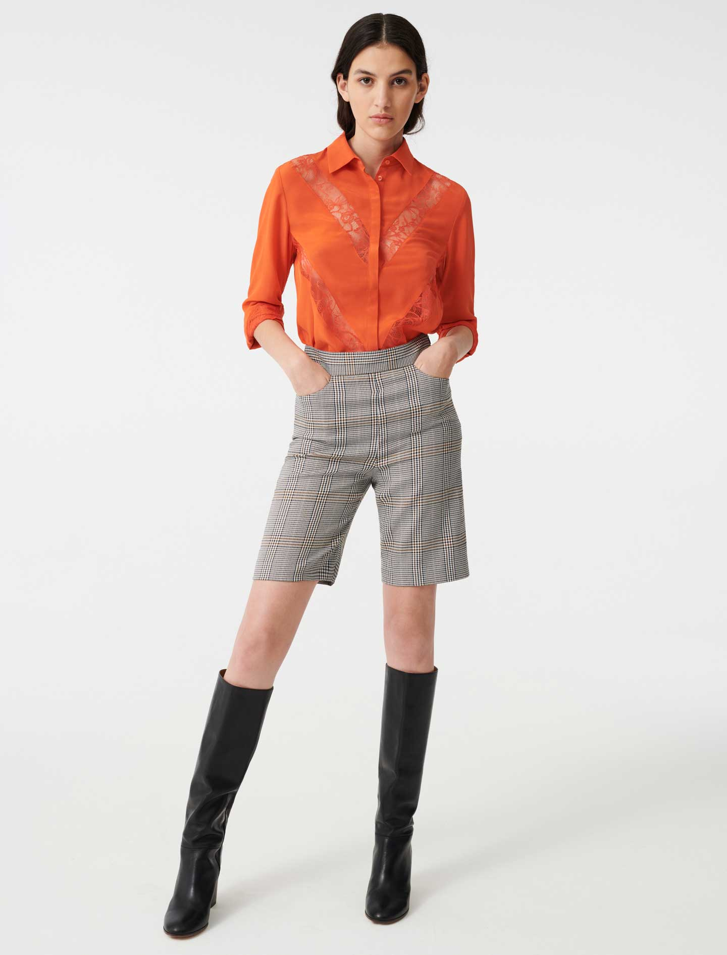 Shirt with lace inserts - Orange