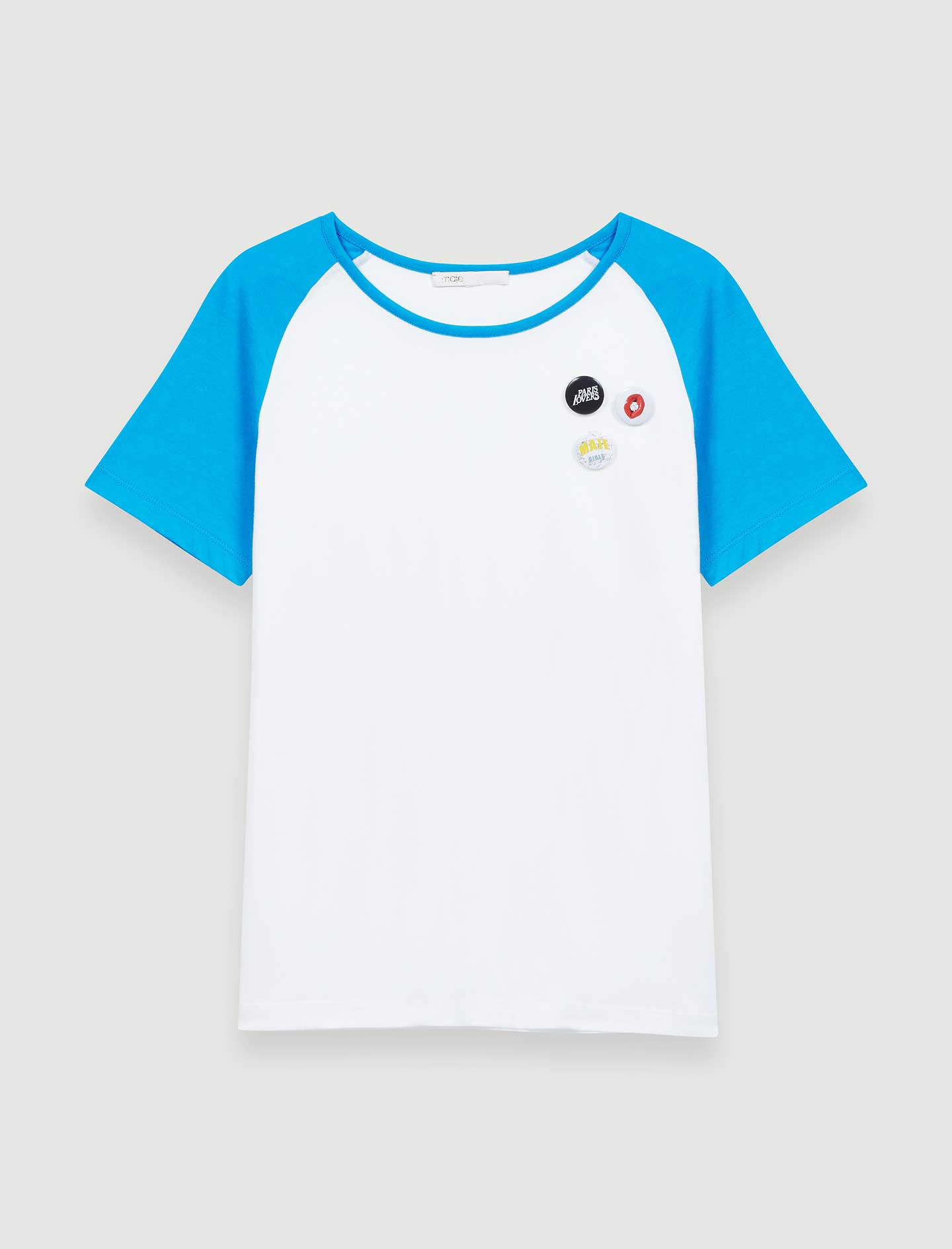 T shirt with contrasting sleeves  - White