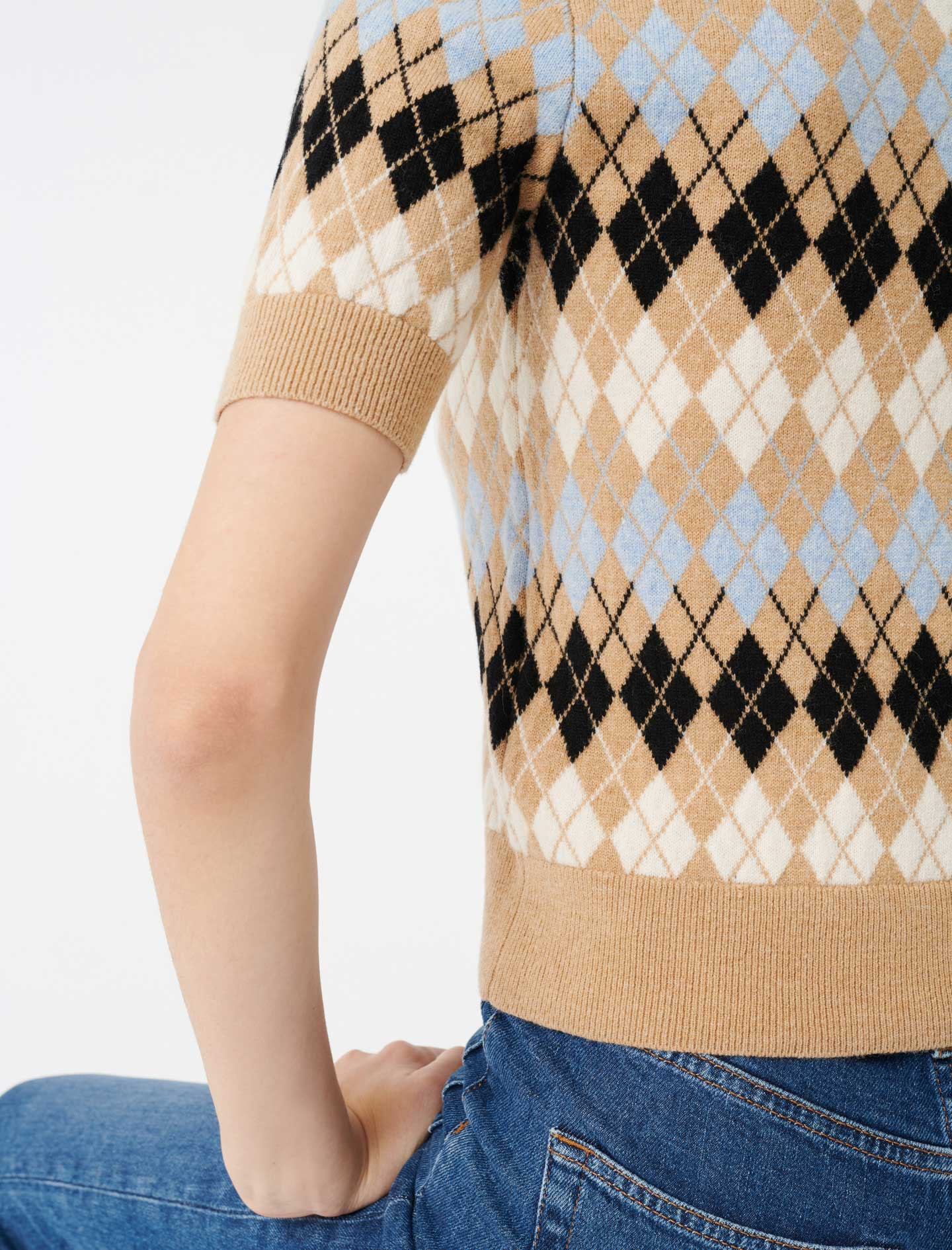 Short sleeved jacquard sweater - Brown