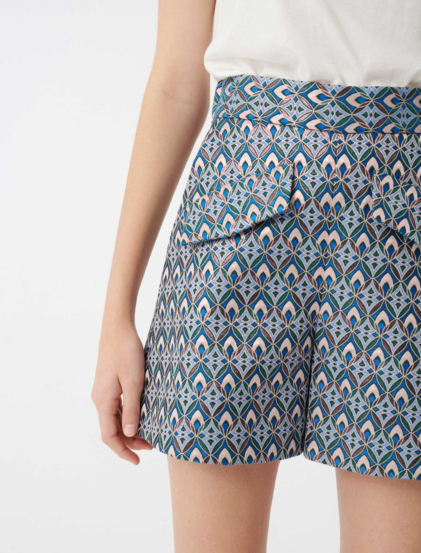 Lurex jacquard shorts - Blue