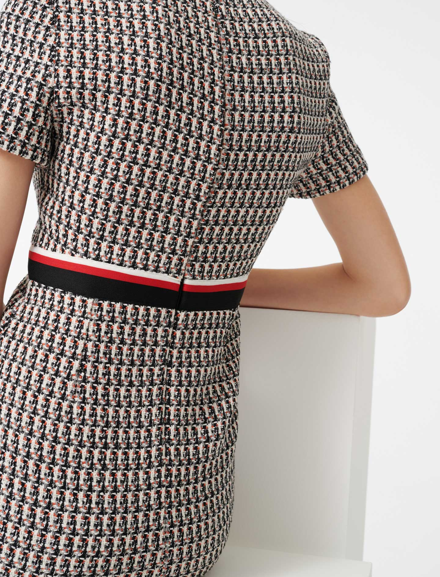 Lurex tweed style dress with bands  - Multi-colour