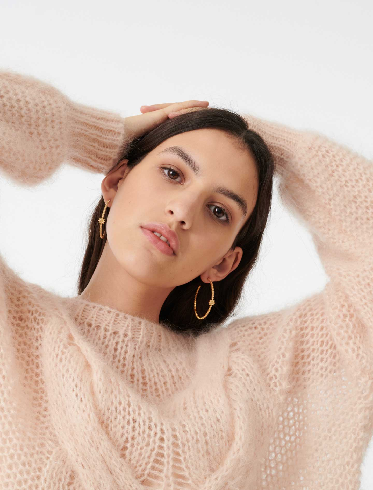 Cable knit sweater - Nude