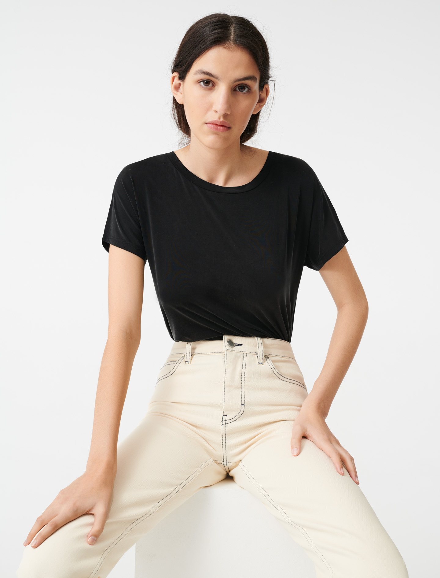 Cupro T shirt with open back  - Black