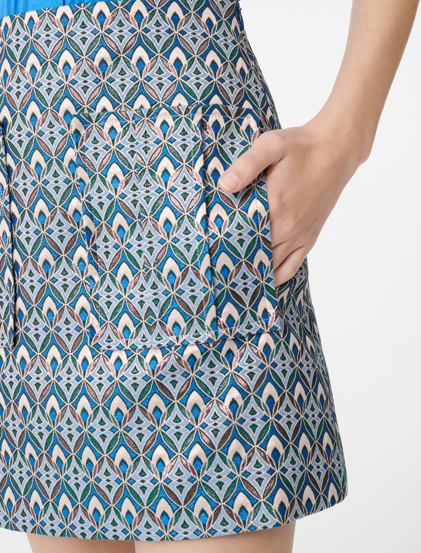 Lurex jacquard skirt - Blue