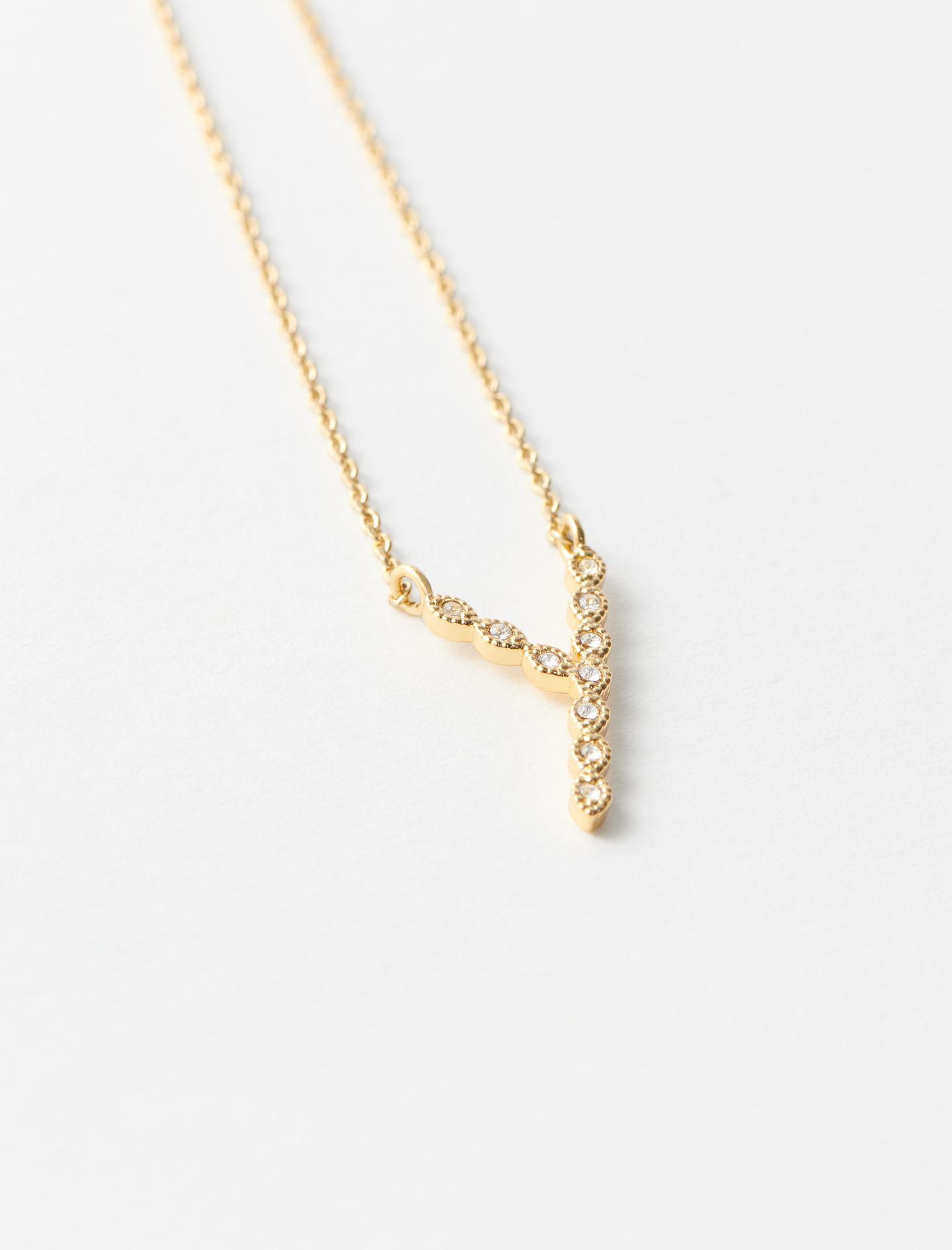 Rhinestone Y necklace - Gold