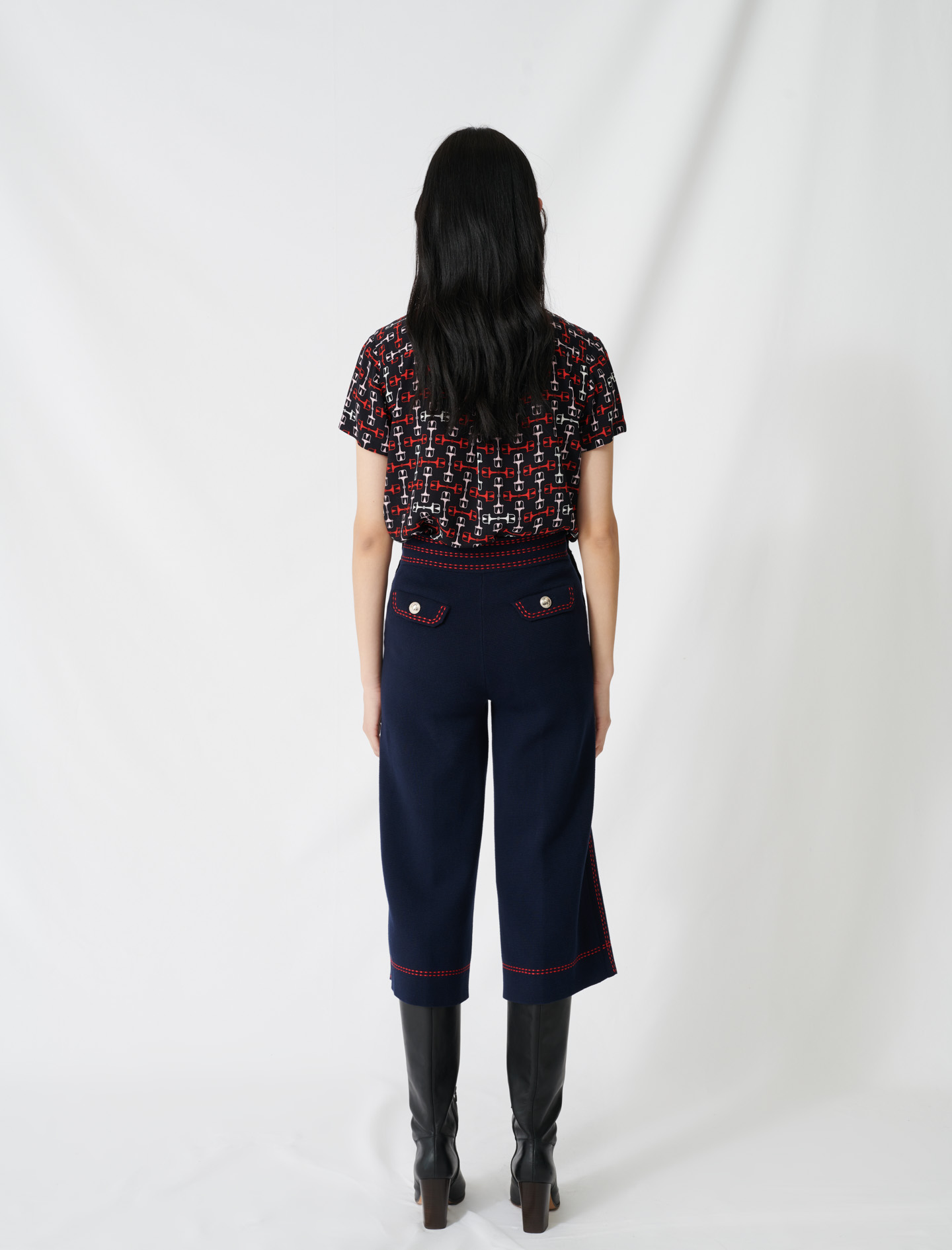 Flares with contrasting topstitching - Navy
