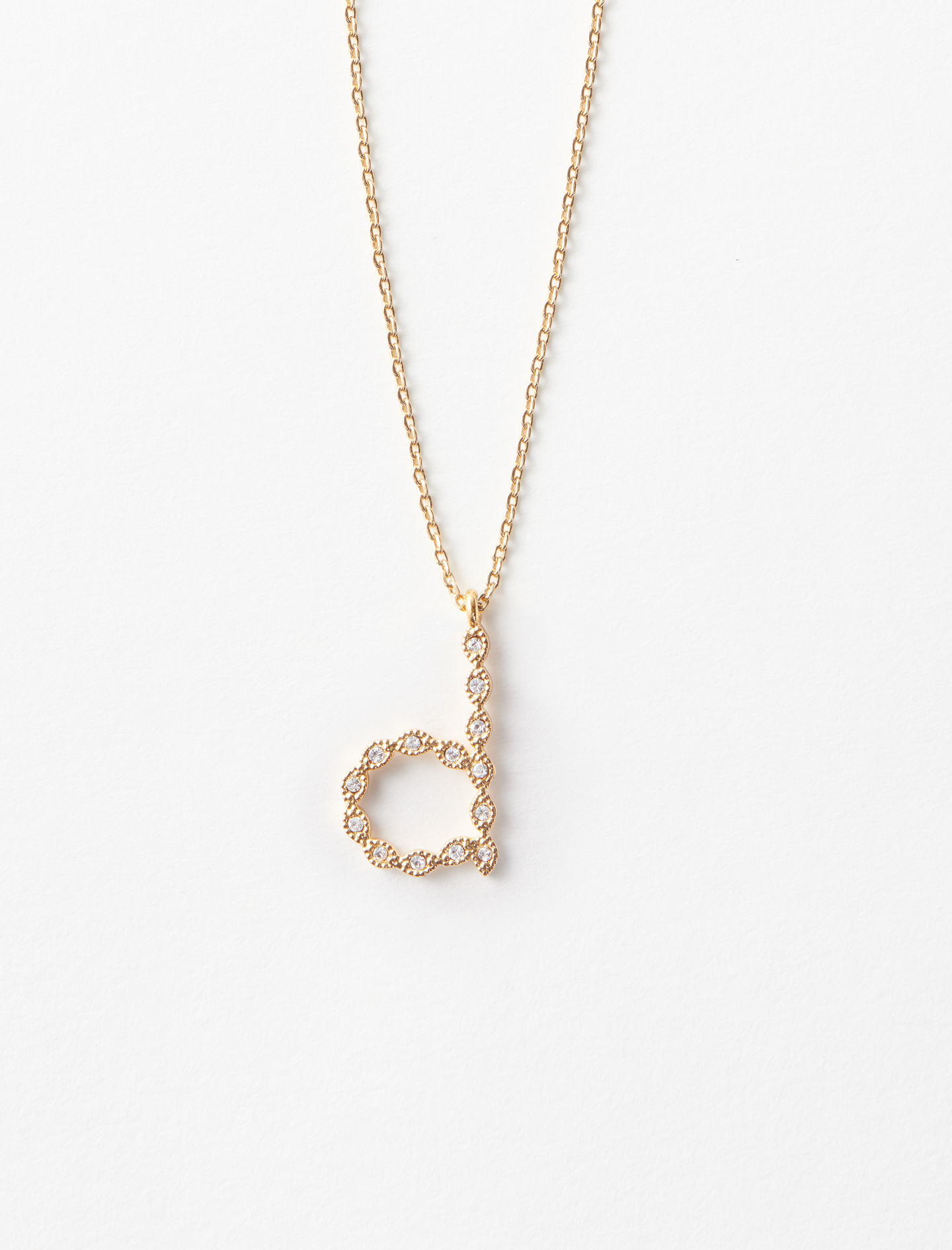 Rhinestone D necklace - Gold