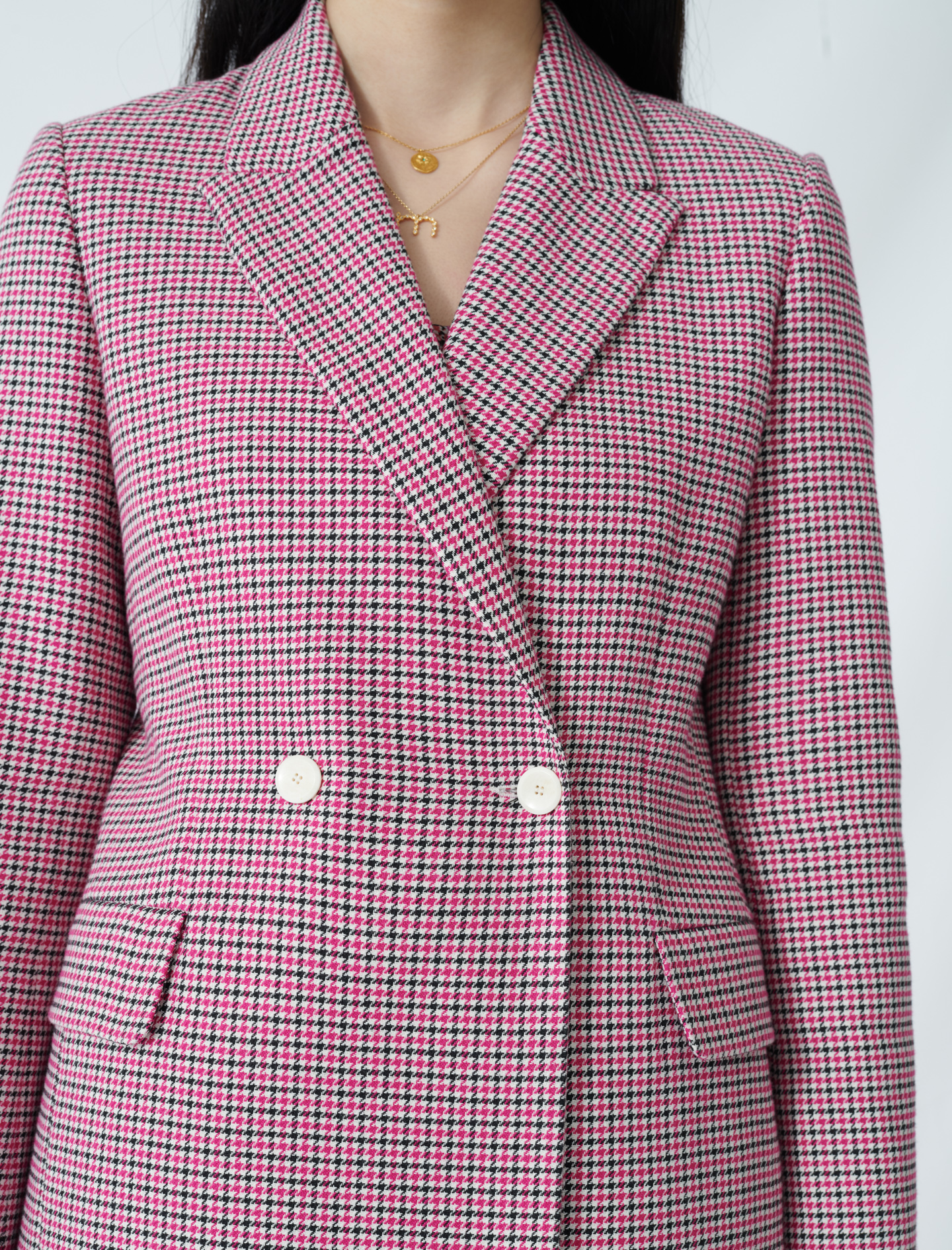Checked straight double-breasted jacket - Pink