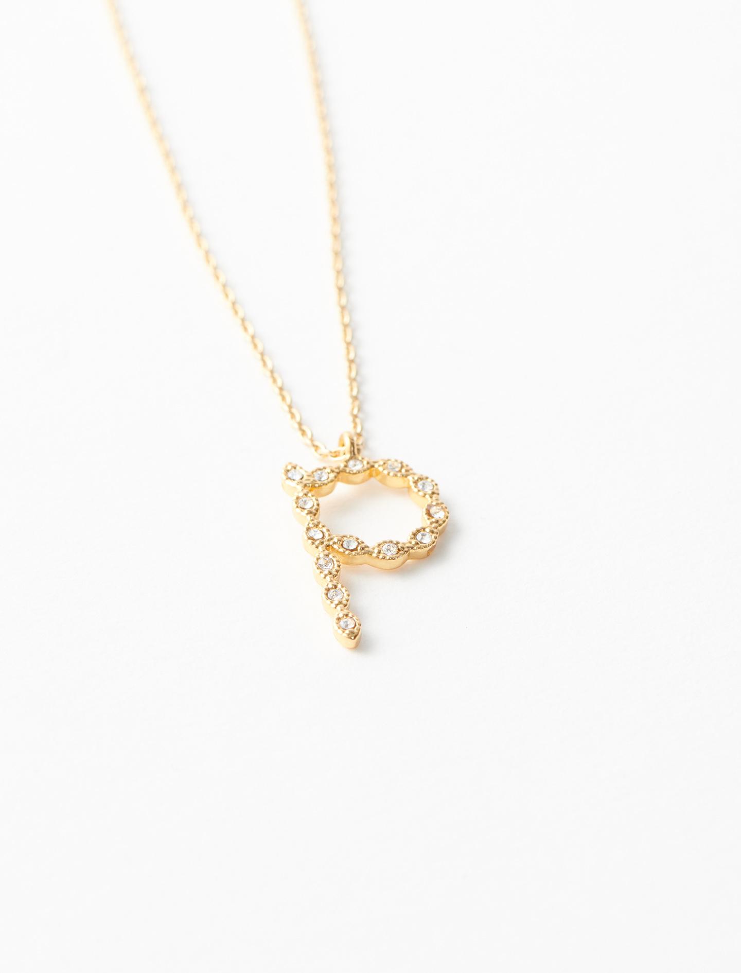 Rhinestone P necklace - Gold