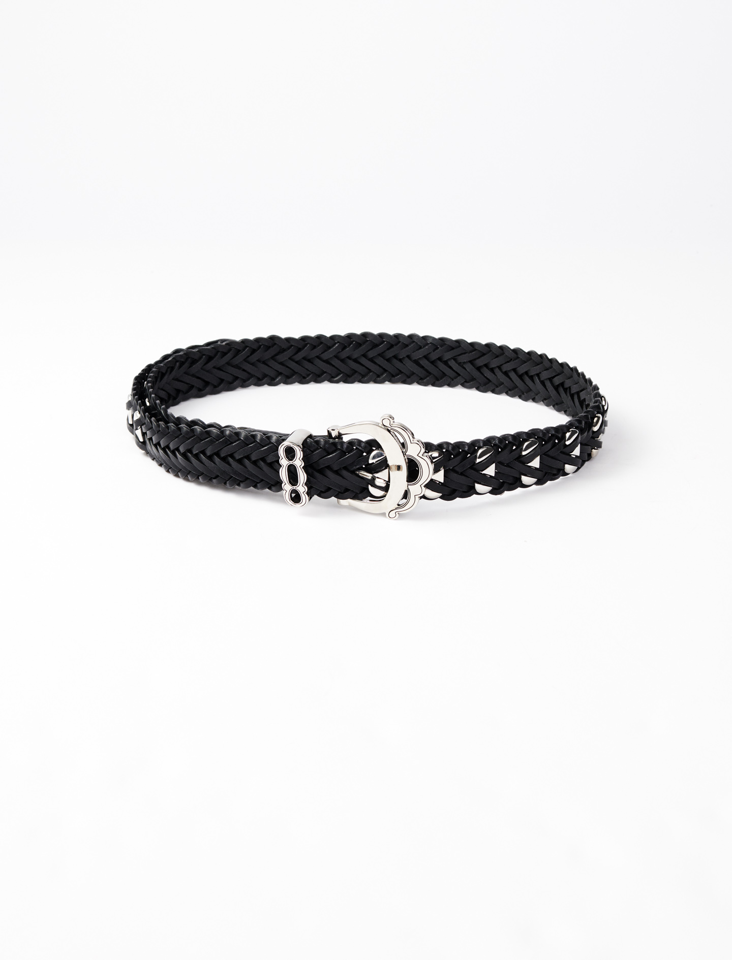 Maje Braided leather belt with studs
