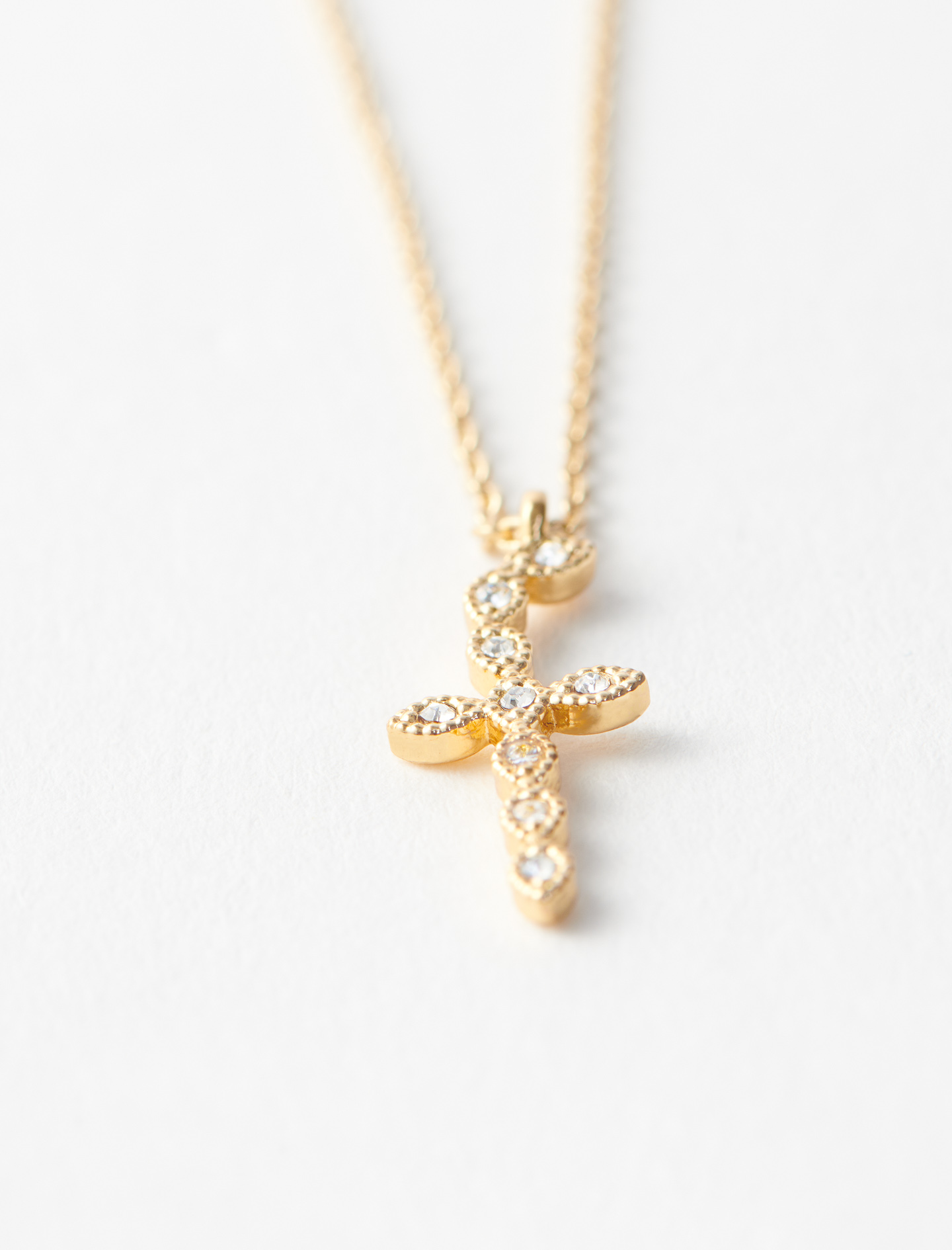 Rhinestone F necklace - Gold