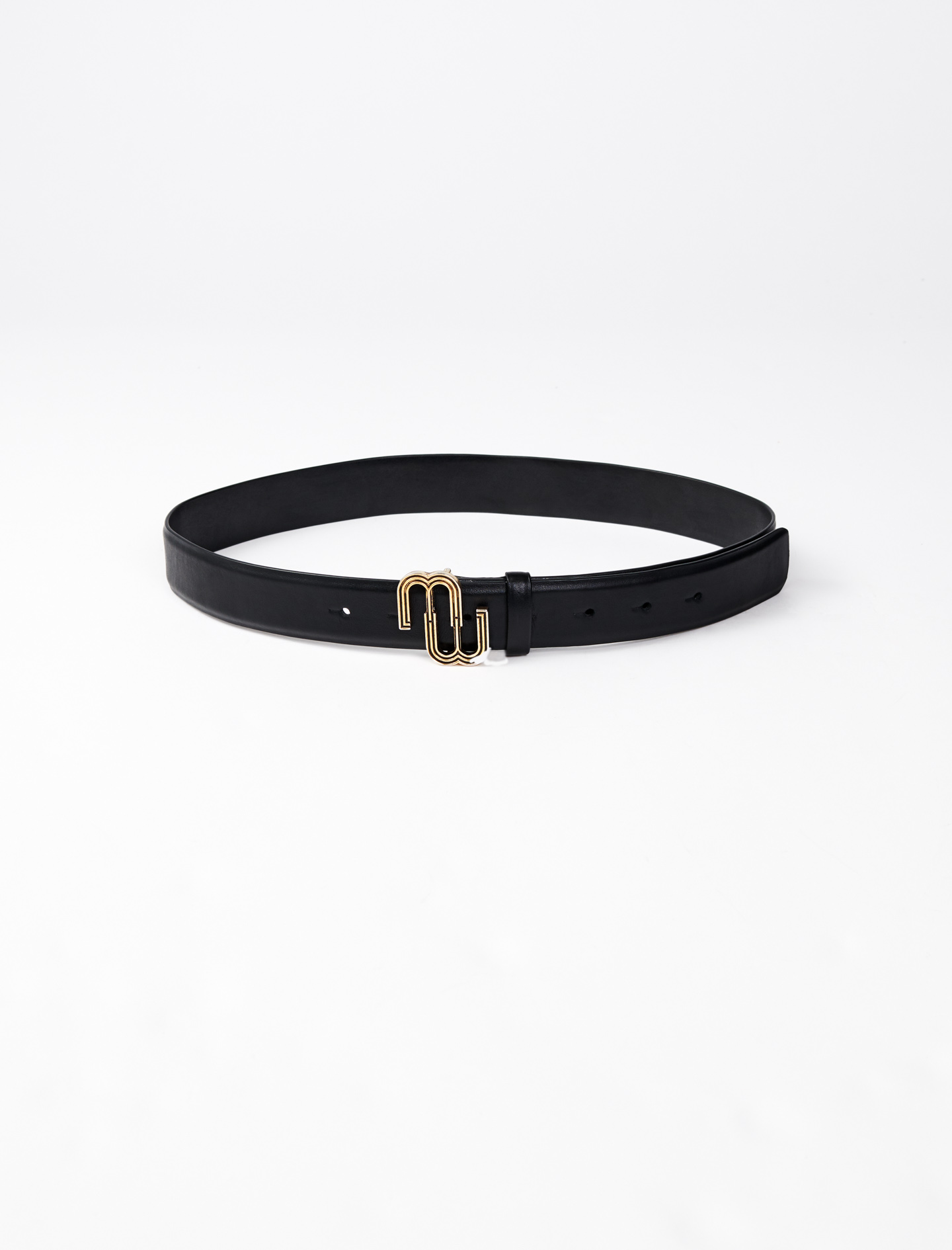 Leather belt with monogram buckle - Black