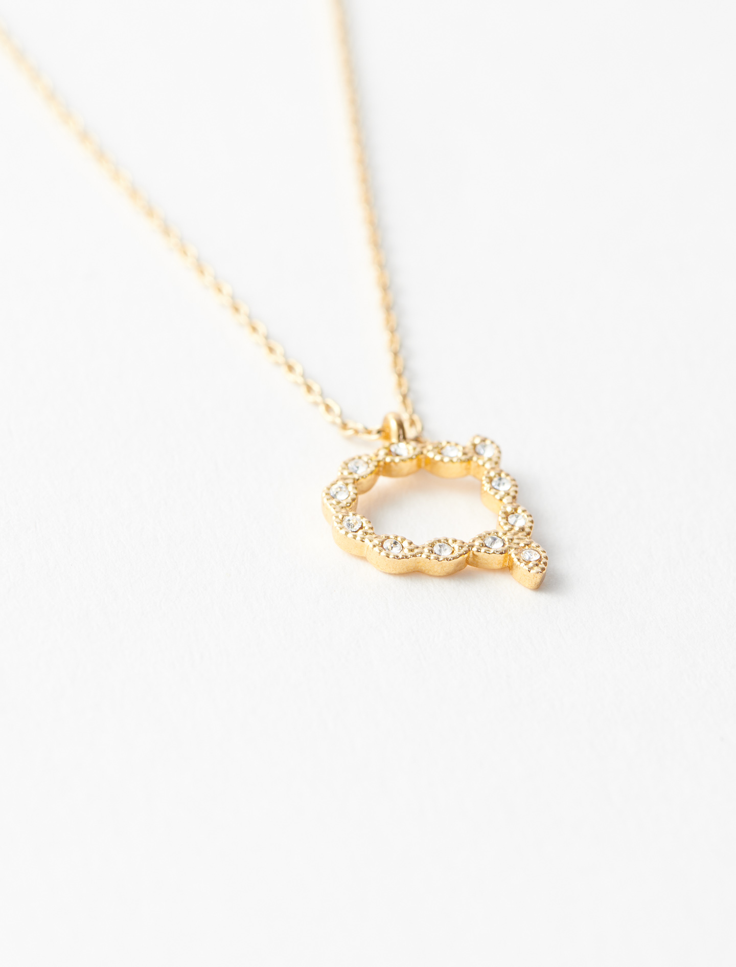 Rhinestone A necklace - Gold