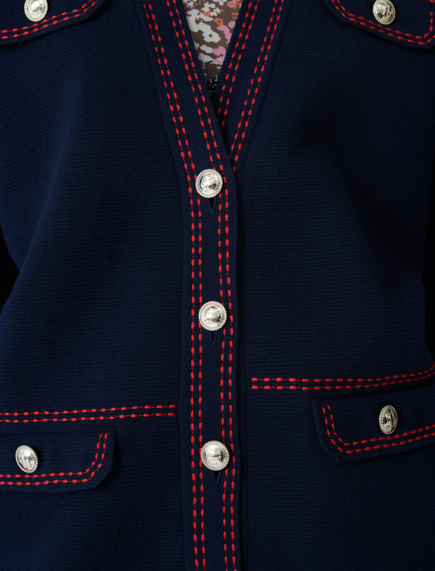 Long cardigan, contrasting topstitching - Navy
