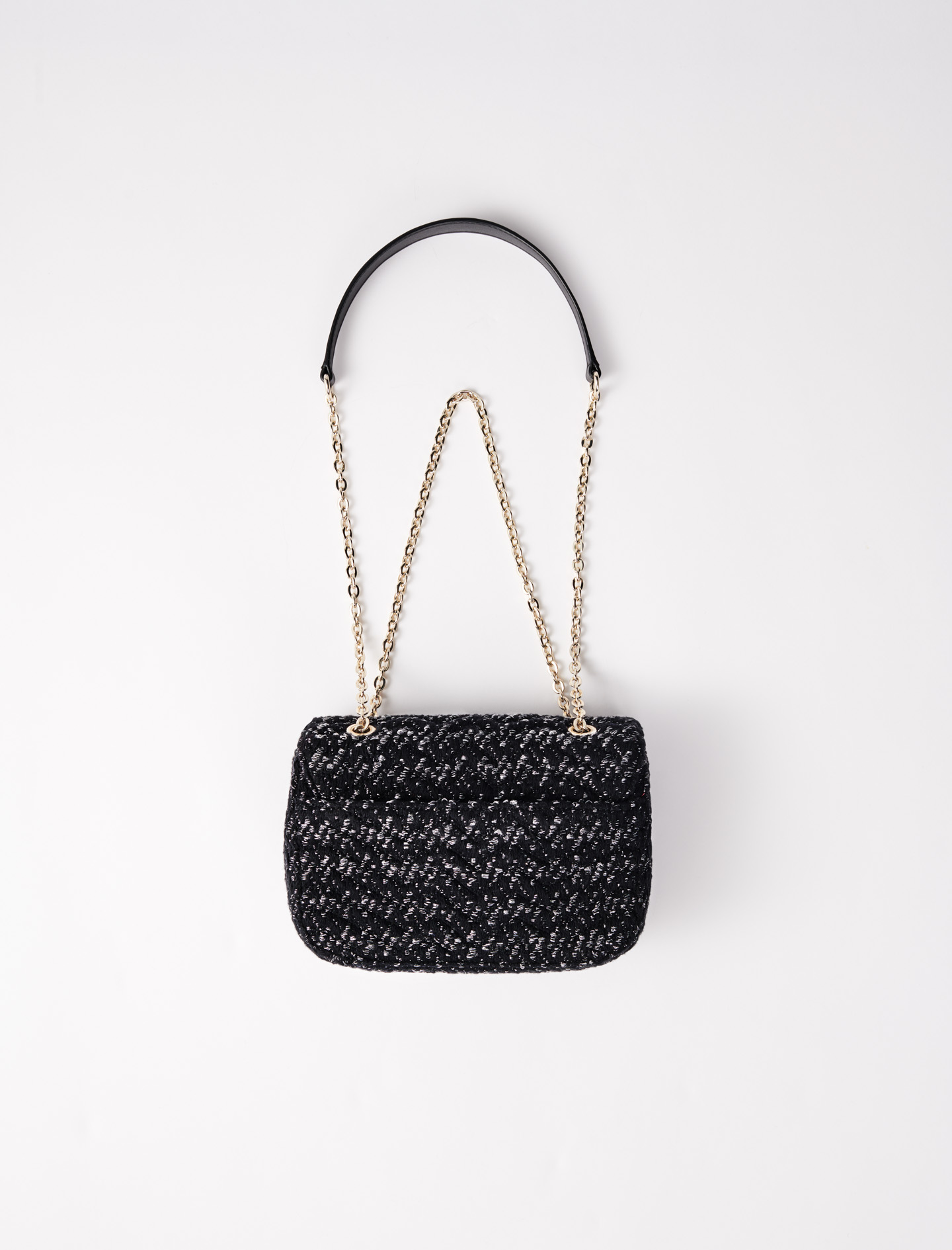 Small bag with contrasting tweed flap - Black