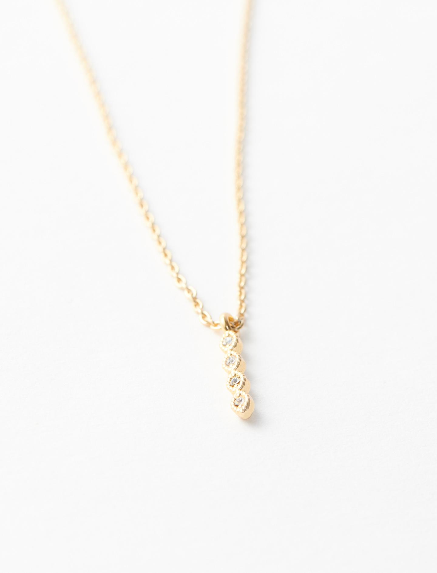 Rhinestone I necklace - Gold