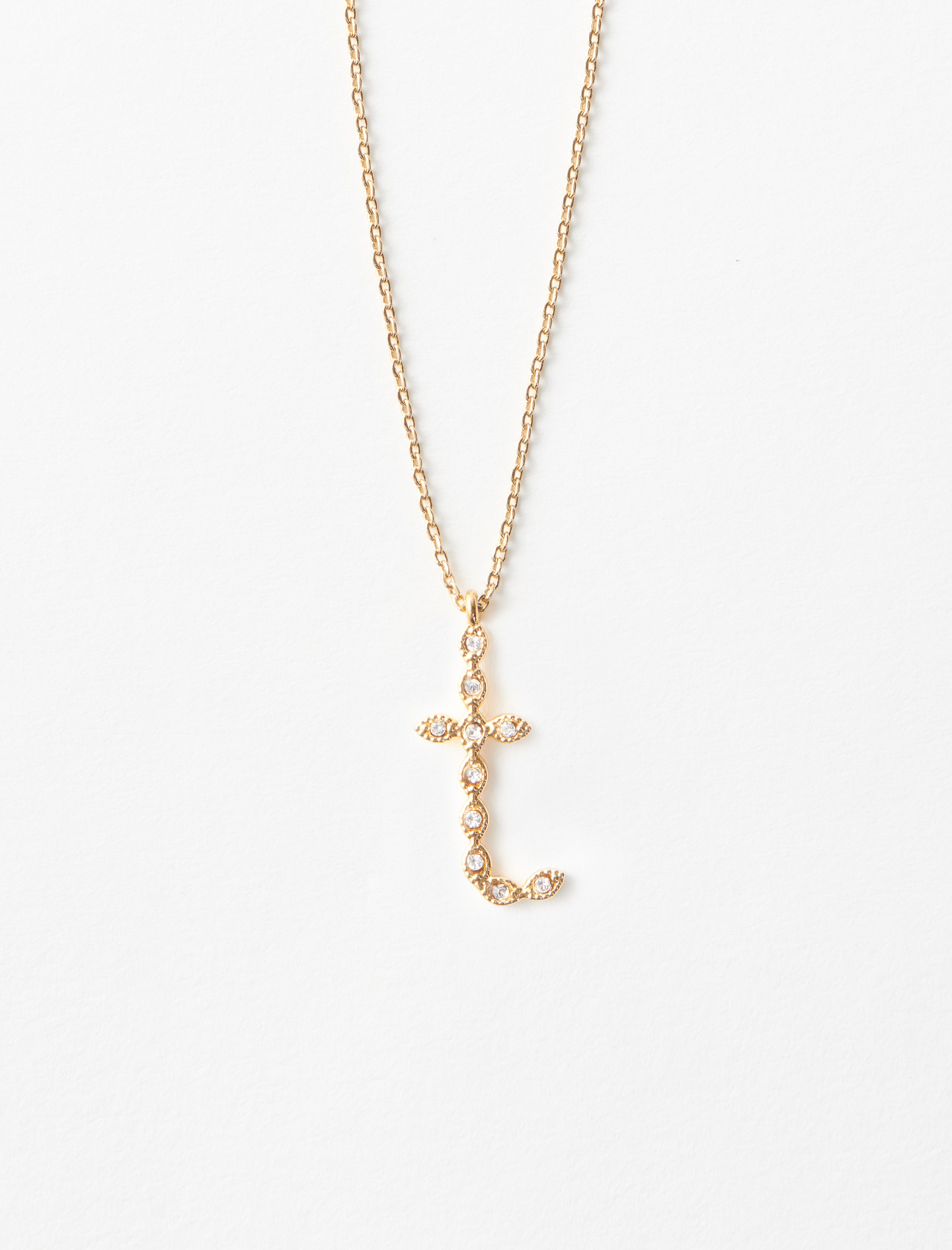 Rhinestone T necklace - Gold
