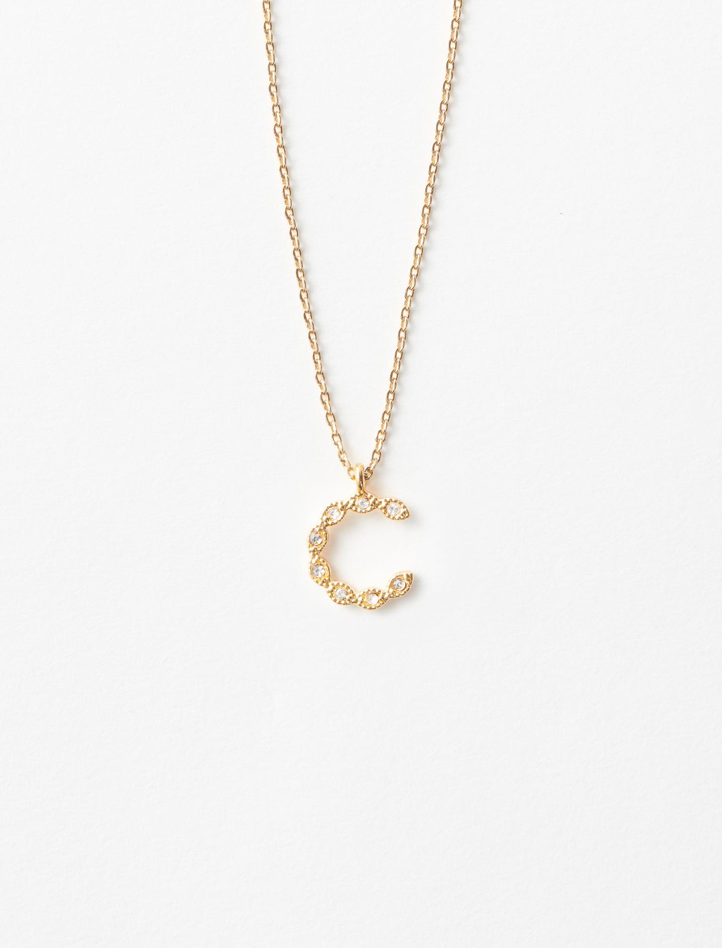 Rhinestone C necklace - Gold