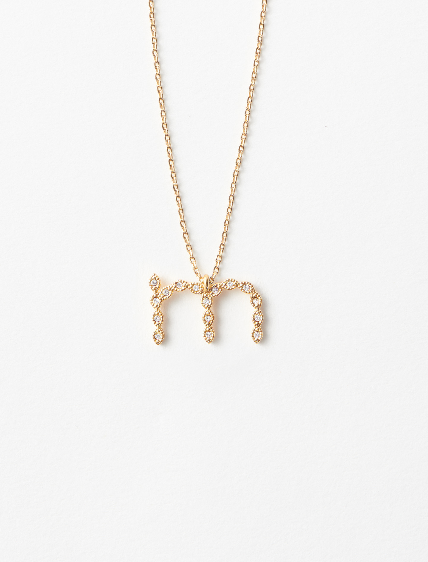Rhinestone M necklace - Gold